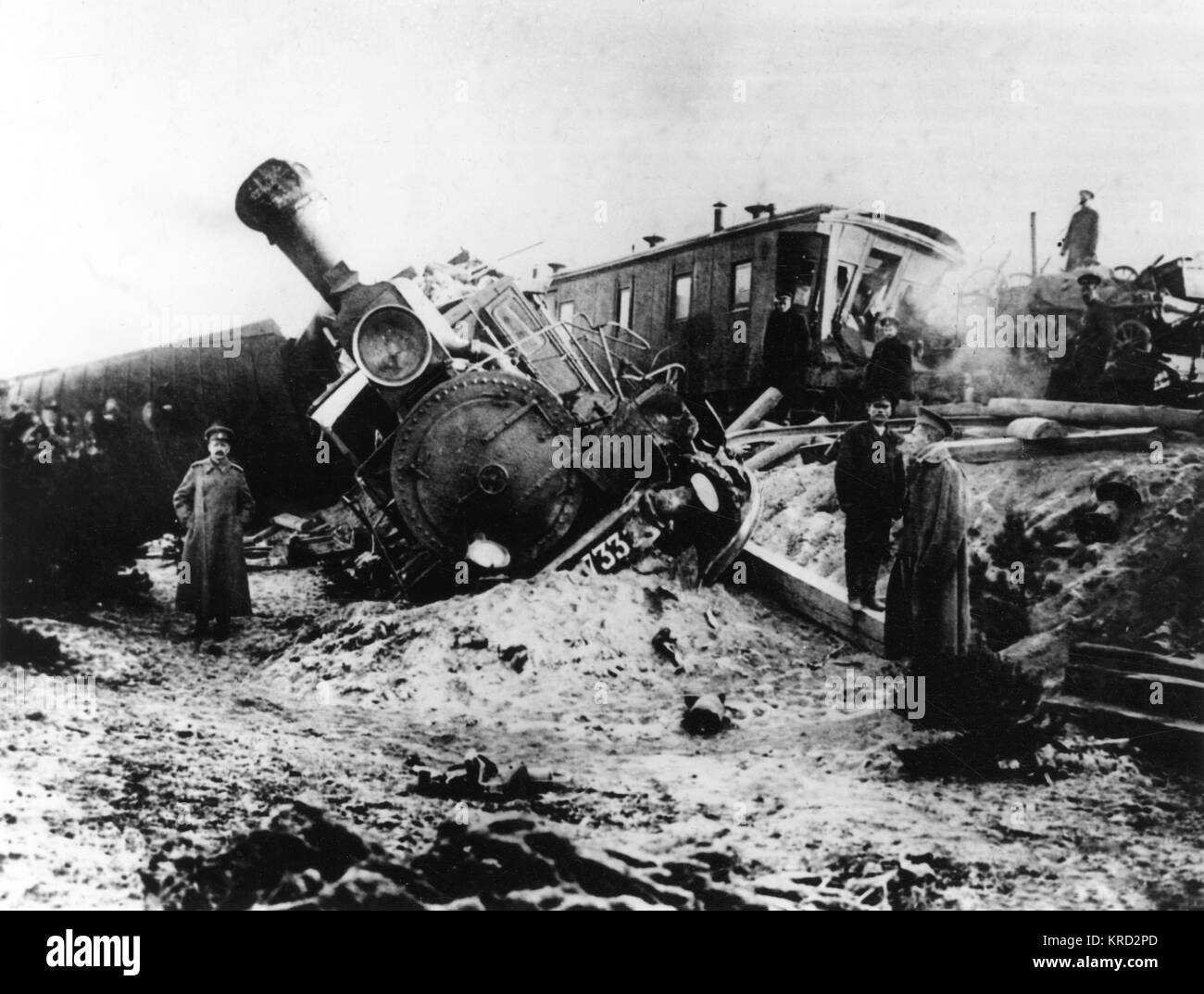 The wreckage of Russian train following a high speed accident in 1914.      Date: 1914 - Stock Image