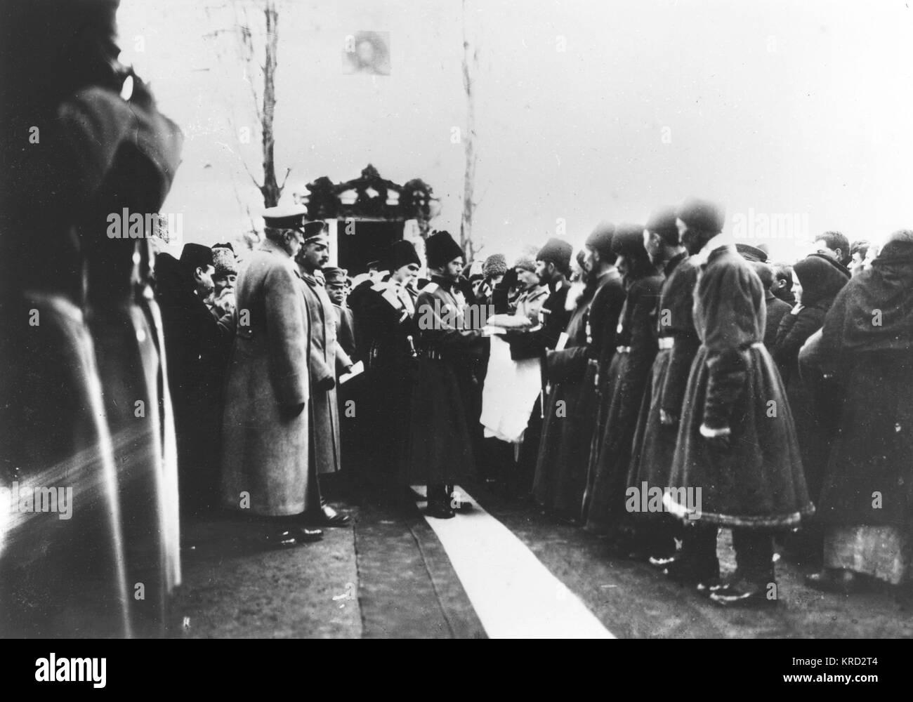 Tsar Nicholas II performs official duties in Vladikavkaz     Date: circa 1900 - Stock Image