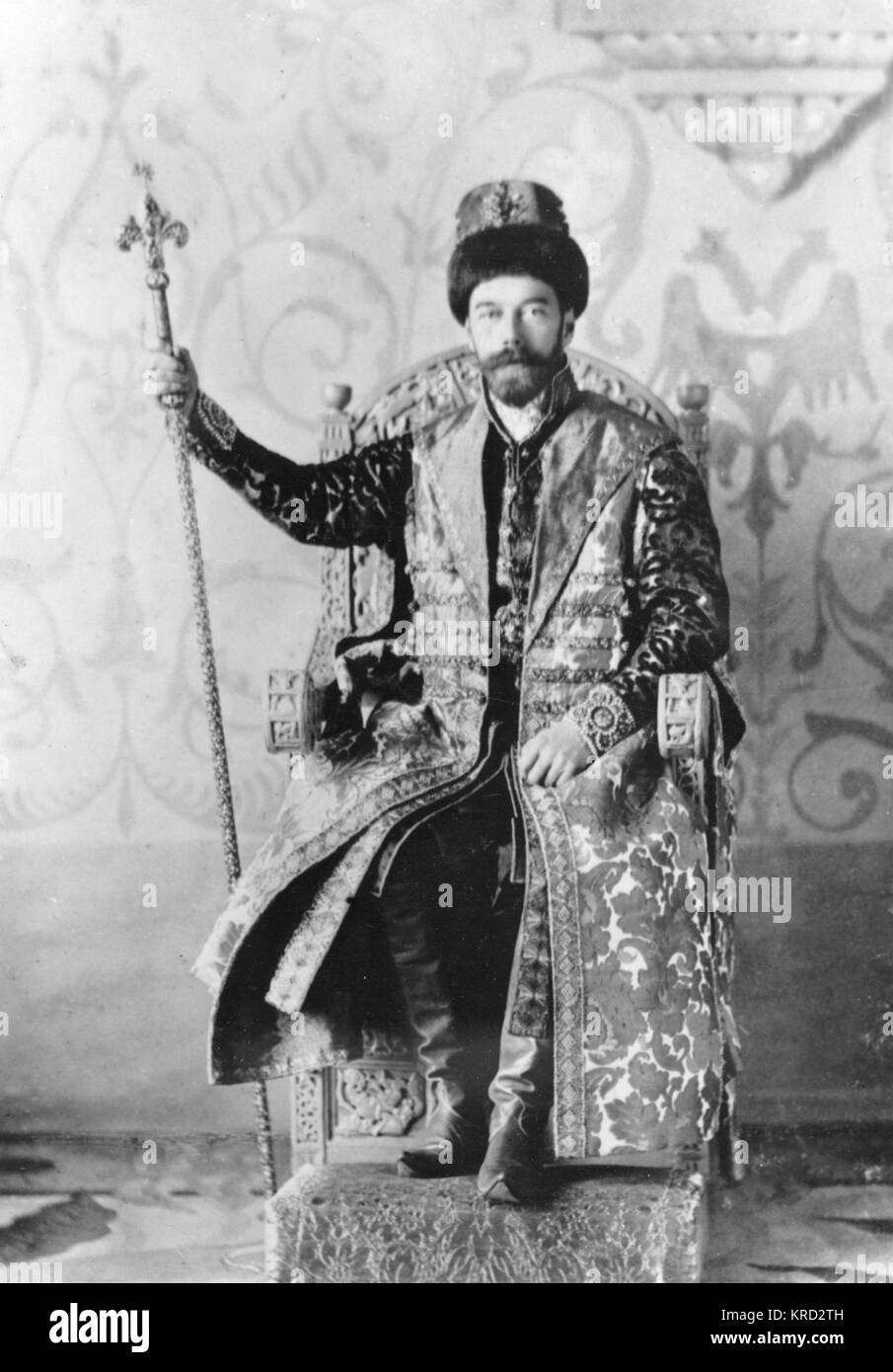 Tsar Nicholas II of Russia on 13 February 1903, sitting on a thrown in extravigant traditional Russian costume before - Stock Image