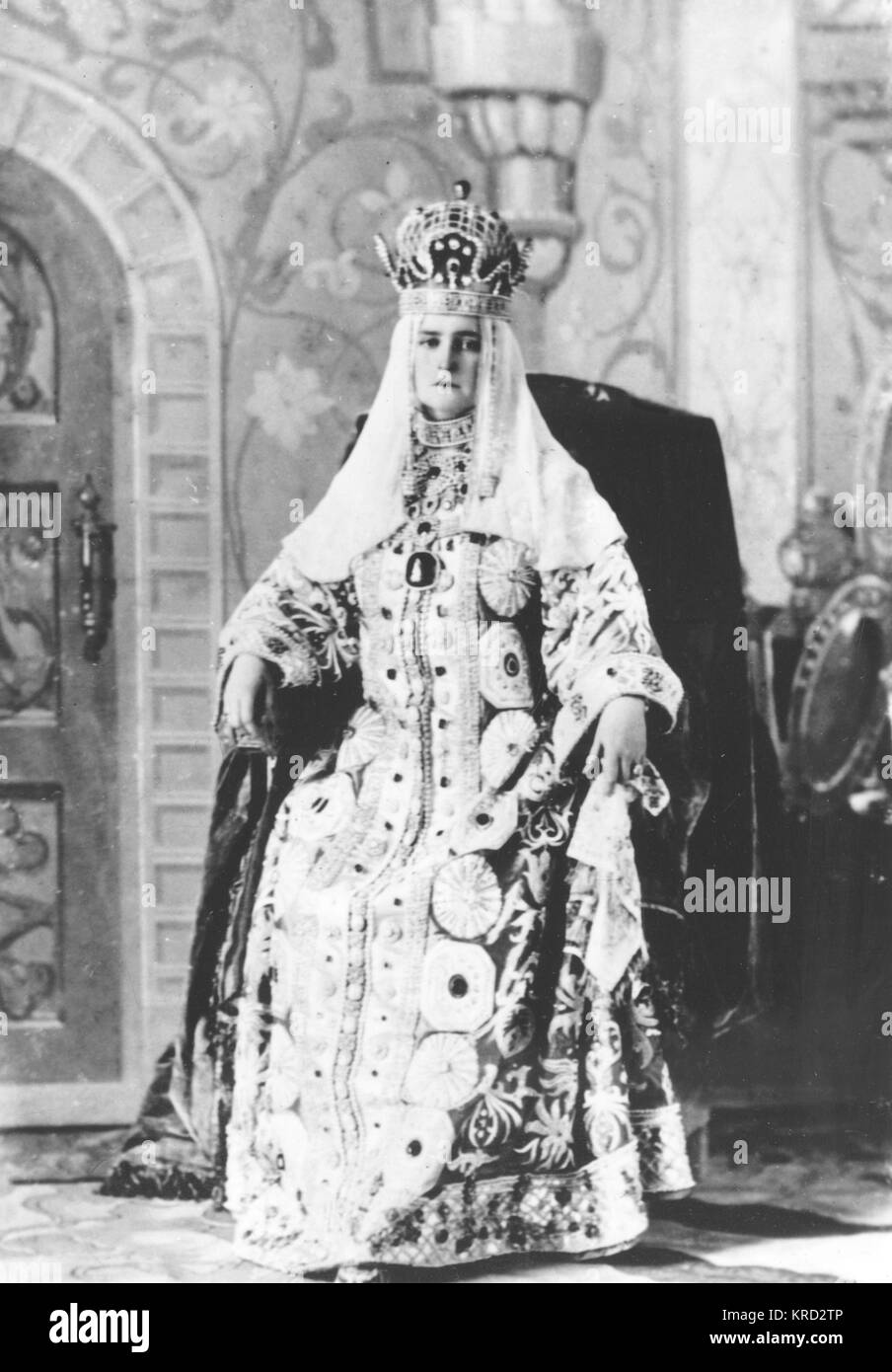 The final Empress of Russia: Alexandra Feodorovna Romanova, here wearing an extravigant traditional Russian costume - Stock Image