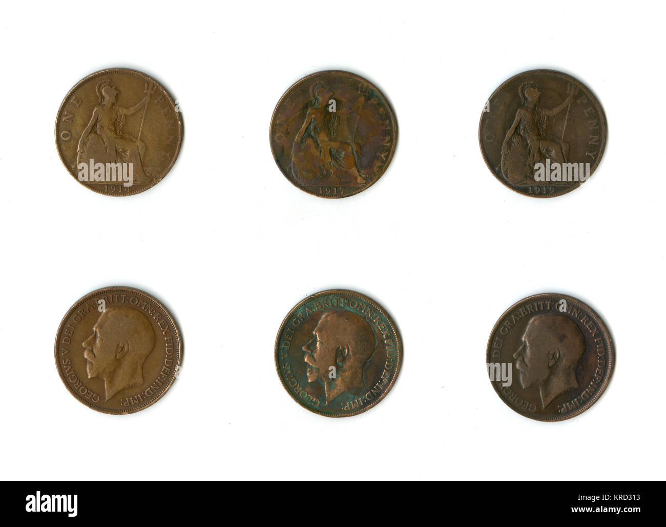 1900s LOT OF 20 UK BRITISH PENNY COINS 1899 1960s Queen V to Queen Elizabeth ^