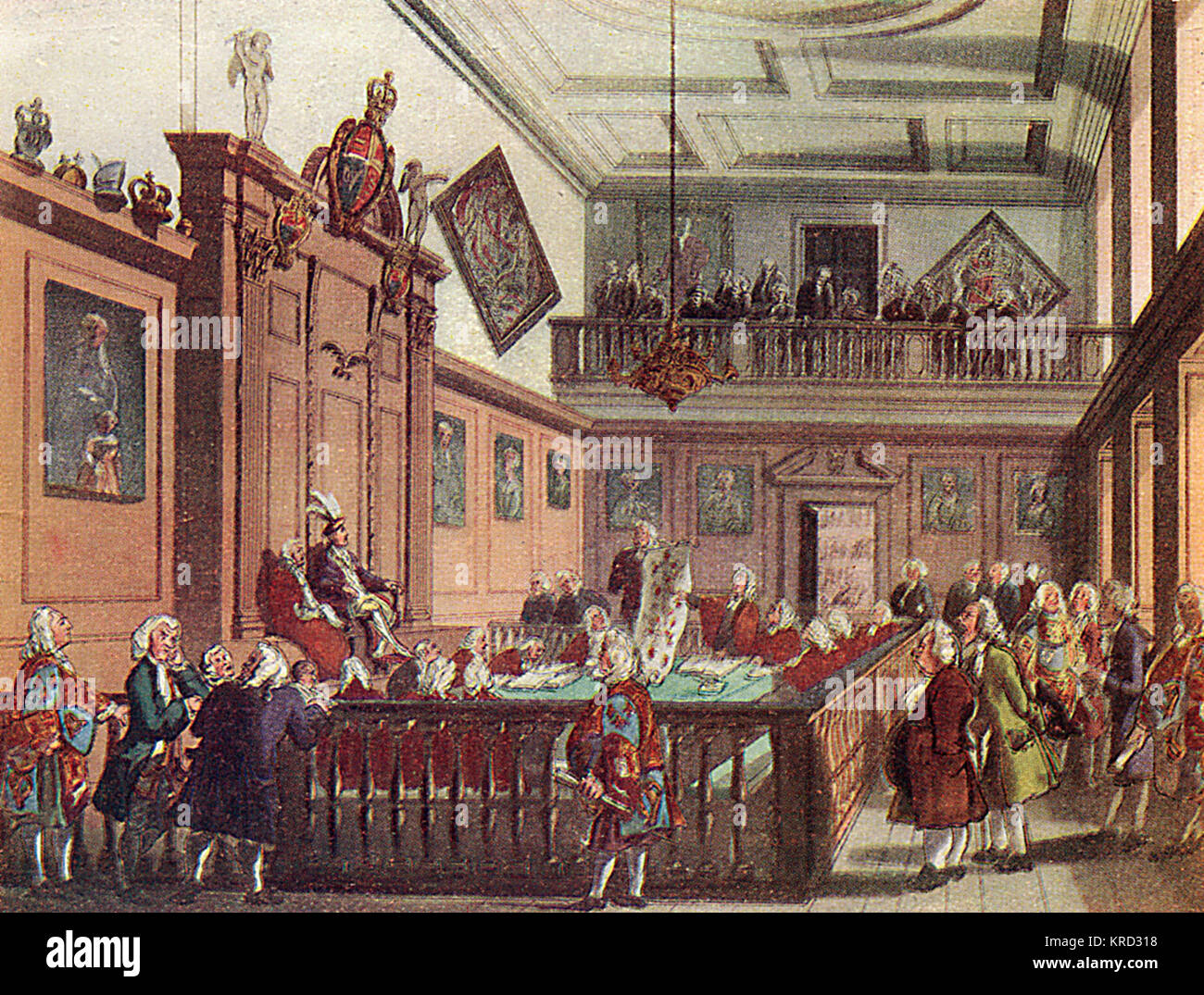 The Hall of The Heralds' College, or College of Arms, pictured in 1808.       Date: 1808 - Stock Image