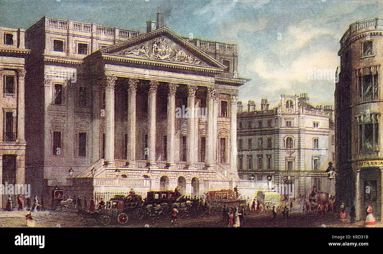 The Mansion House, official residence of the Lord Mayor of London in the heart of the City of London opposite the - Stock Image