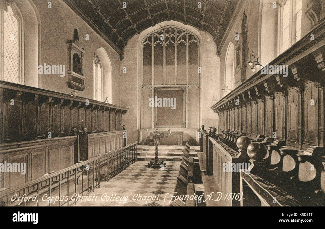 The interior of Corpus Christi College chapel, Oxford. Contrary to the information printed on this postcard, the - Stock Image