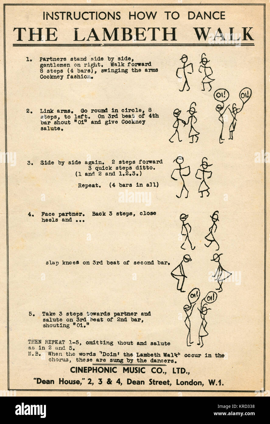 Type-written instructions on how to dance The Lambeth Walk, a cheery Cockney musical number, as featured in Arthur - Stock Image