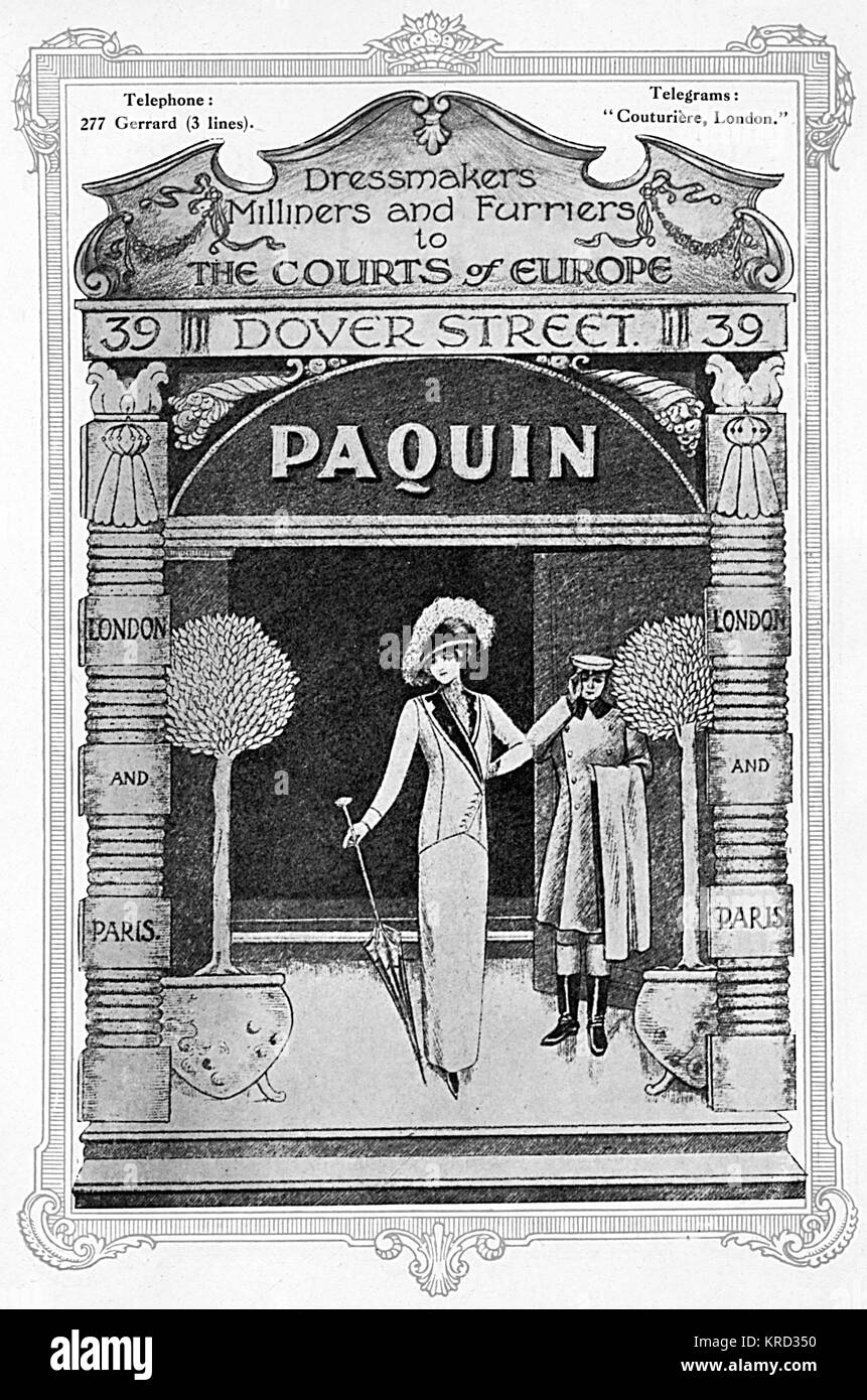 Advertisement for the fashion house, Paquin, 'dressmakers, milliners and furriers to the Courts of Europe' - Stock Image