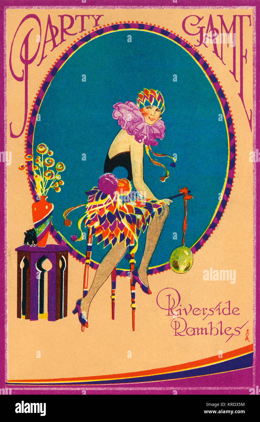 Cover of a party game card from the 1920s featuring a flapper girl in a harlequin style fancy dress costume with Stock Photo