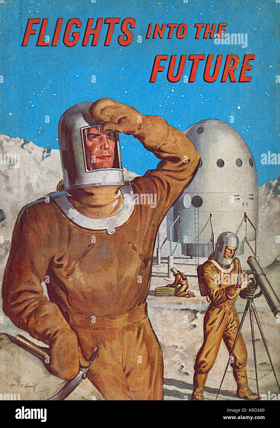 Front cover of Flights into the Future, a children's book exploring the possibilities of space travel.  Illustration - Stock Image