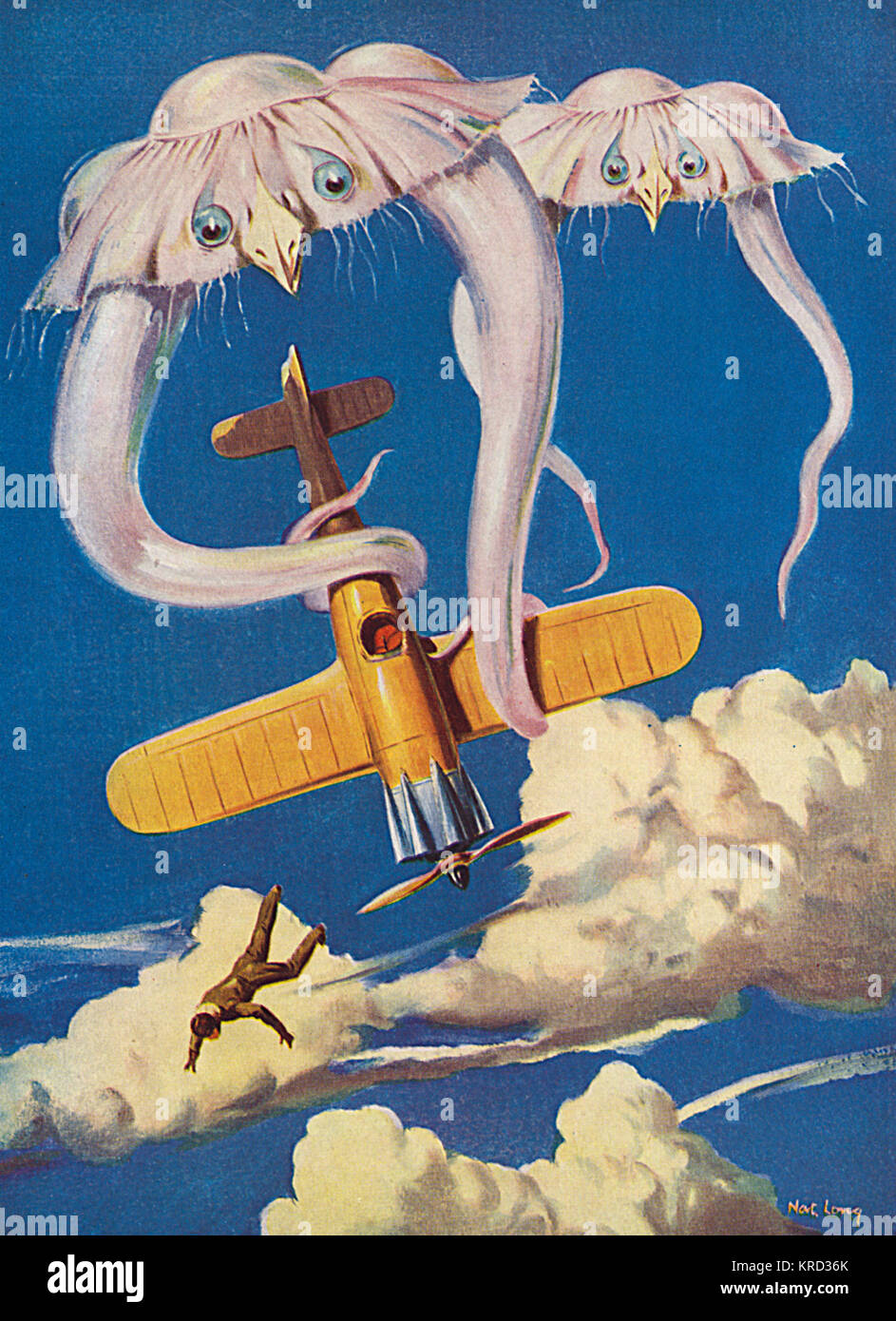 An unfortunate pilot is thrown out of his plane by creatures fllying around the 'air jungle', the product - Stock Image