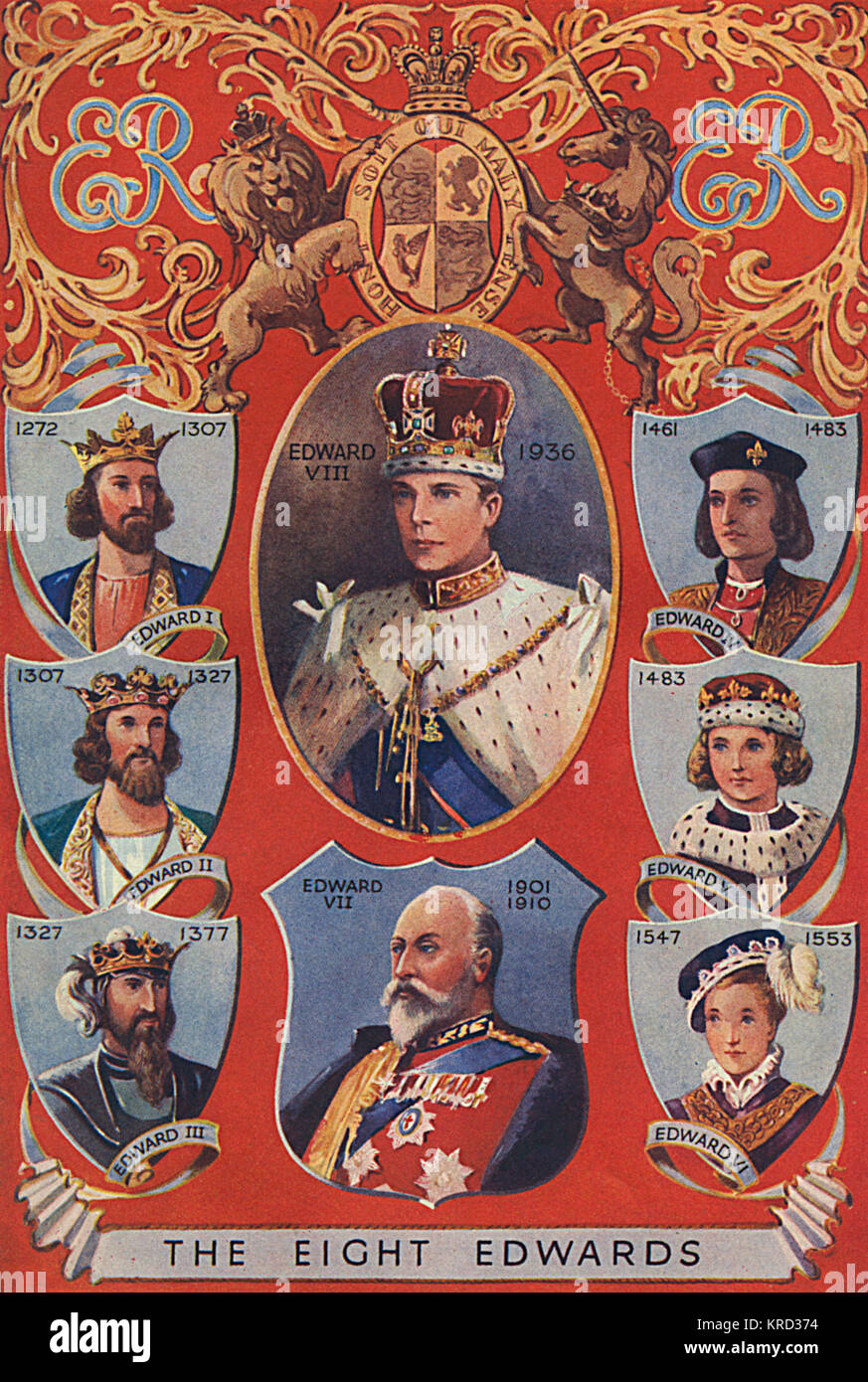 King Edward VIII pictured centre in his coronation regalia (except he abdicated before he could be crowned).  Surrounding - Stock Image