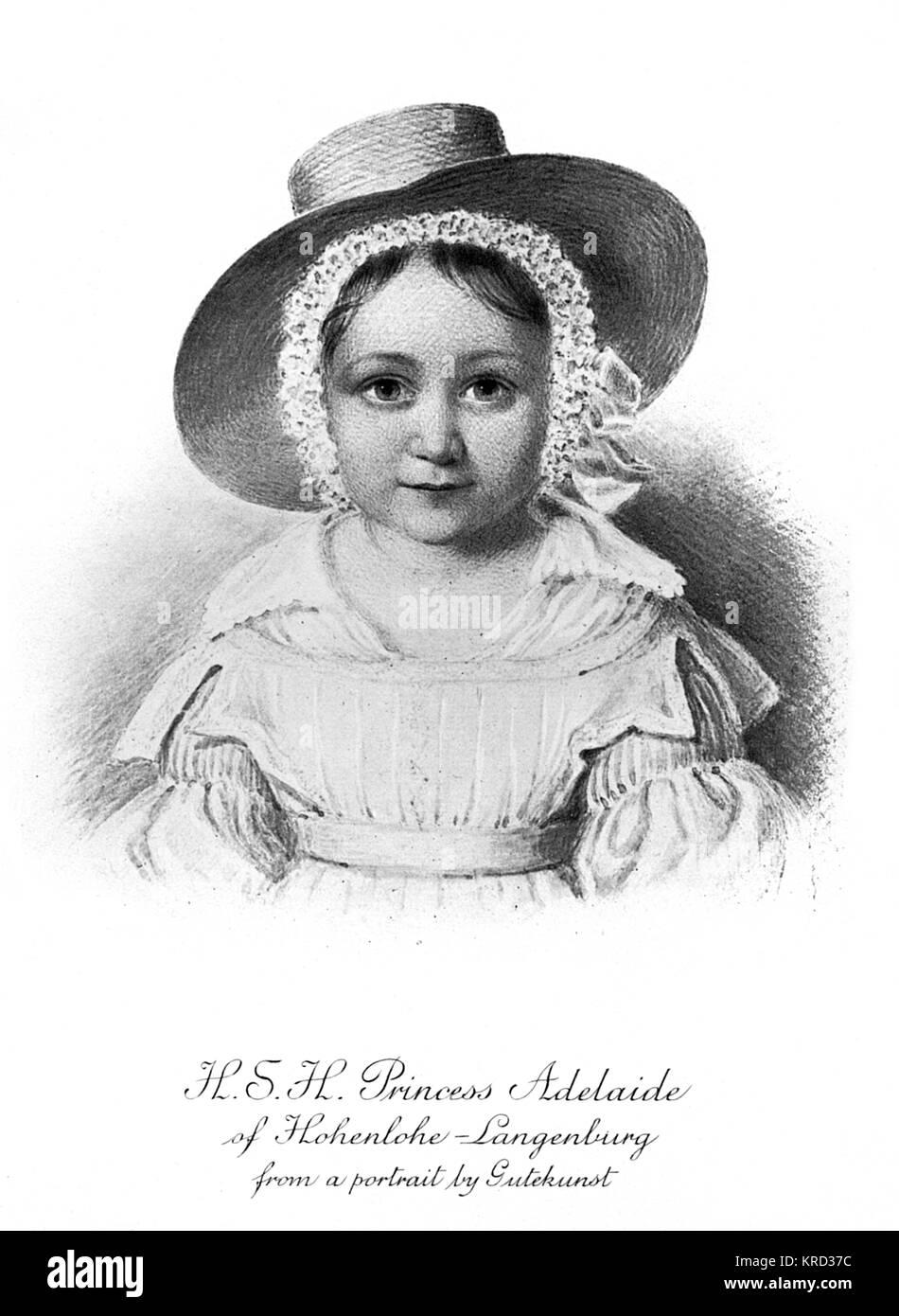 Princess Adelheid (Adelaide) of Hohenlohe-Langenburg (1835-1900), niece of Queen Victoria being the daughter of - Stock Image