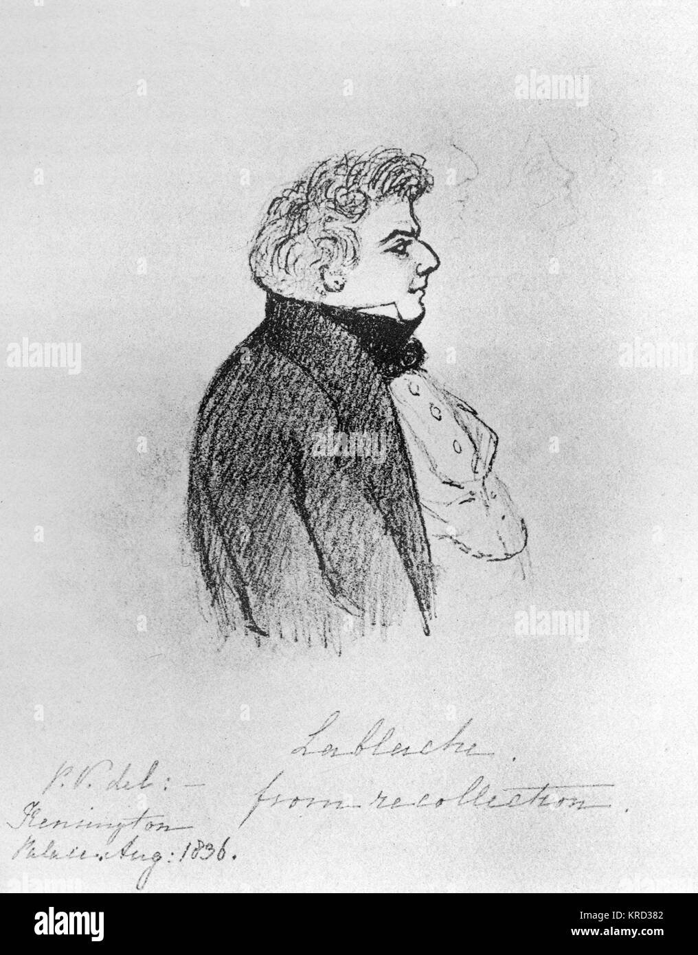 Luigi Lablache (1794-1858), Italian bass opera singer sketched from recollection by Princess Victoria in 1836.  - Stock Image