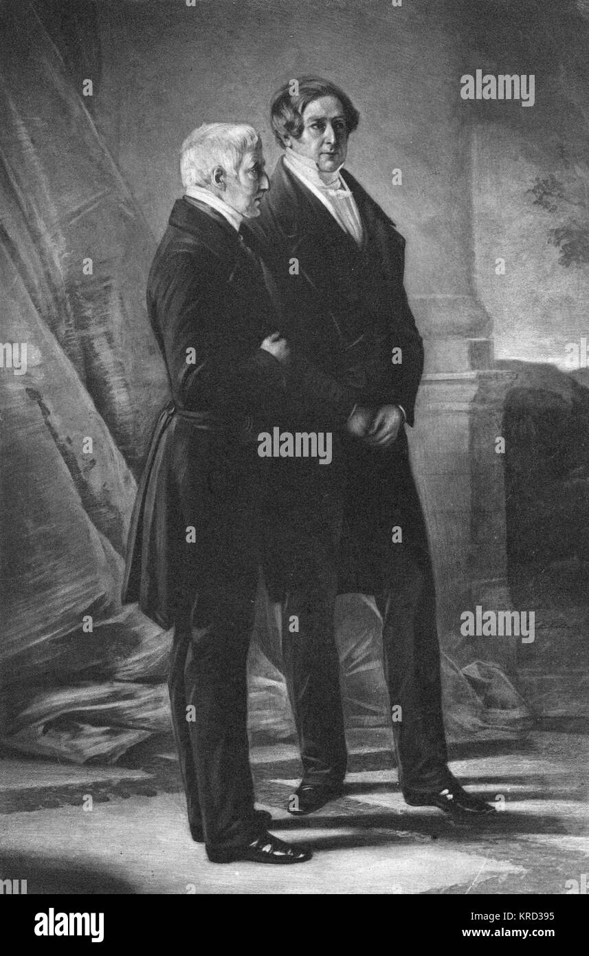 Arthur Wellesley, Duke of Wellington (1769-1852), pictured with Sir Robert Peel (1788-1850).     Date: 1830s - Stock Image