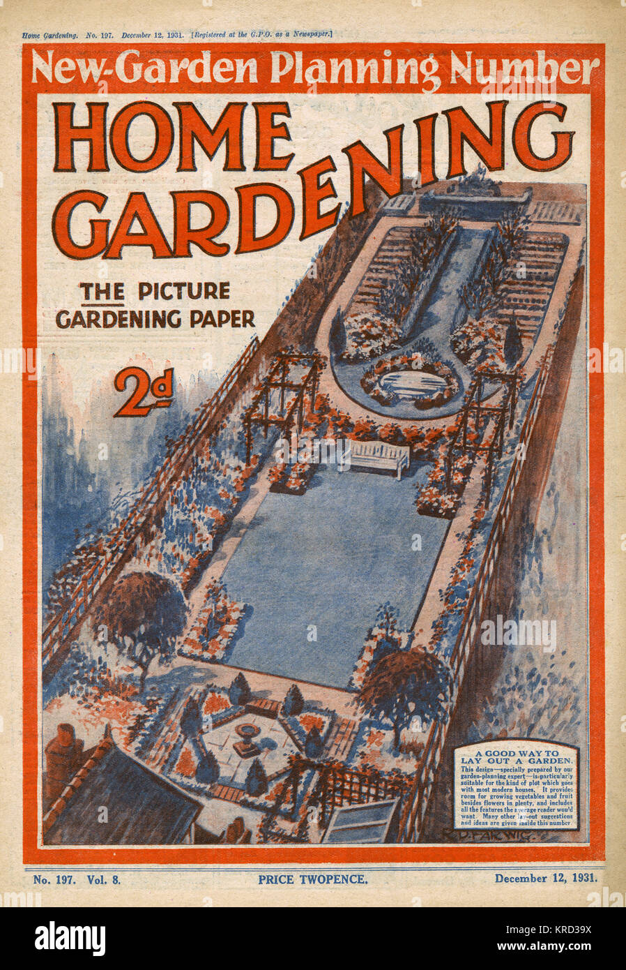 Front Cover Of Home Gardening Magazine Featuring An Overhead View Of A  Garden, With A