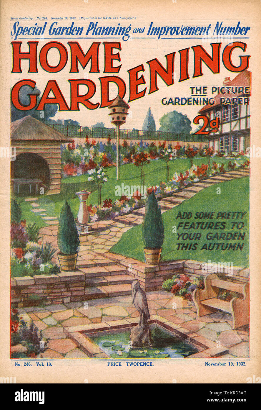 Front cover of Home Gardening magazine with an illustration suggesting 'pretty features to add your garden this - Stock Image