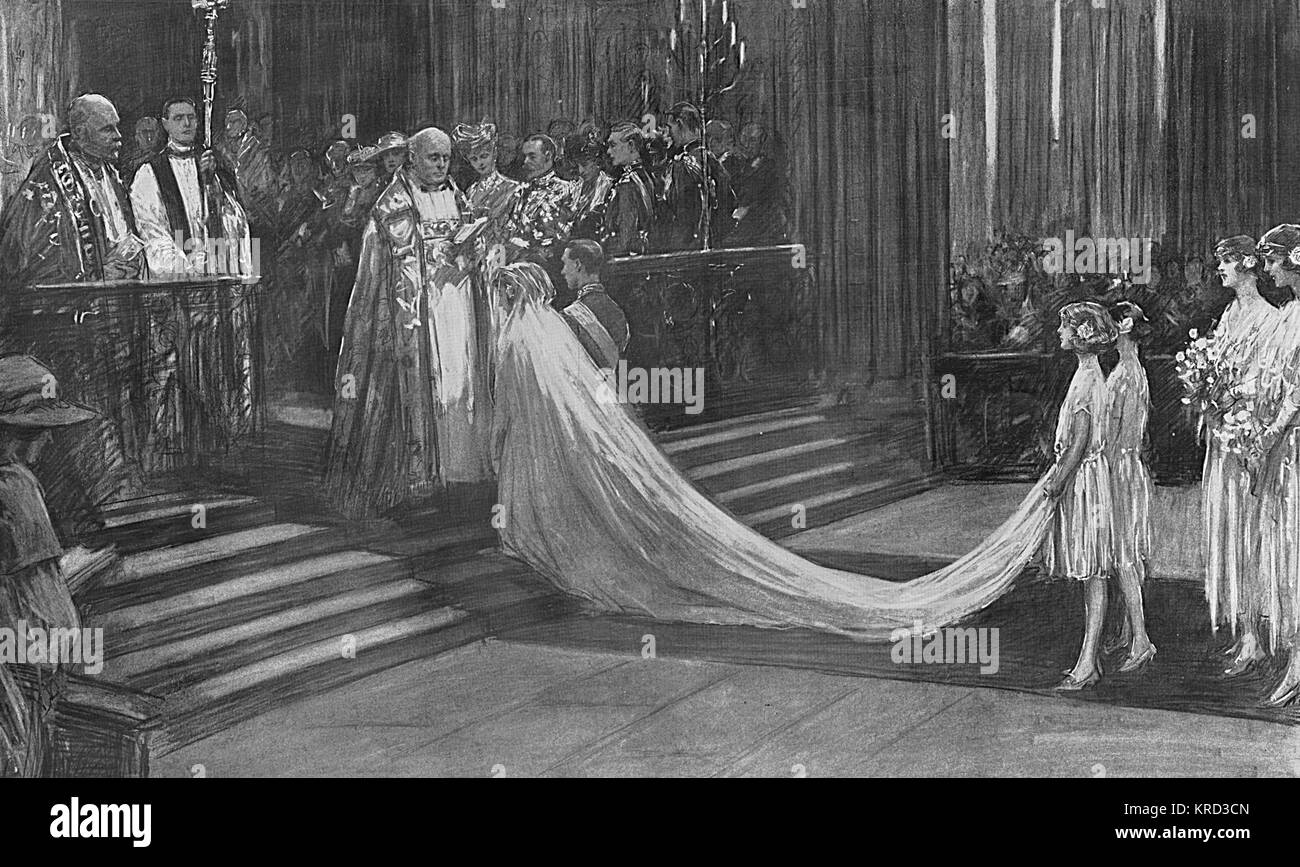 The wedding ceremony in Westminster Abbey on 26 April 1923 for the marriage of Prince Albert, Duke of York to Lady Stock Photo