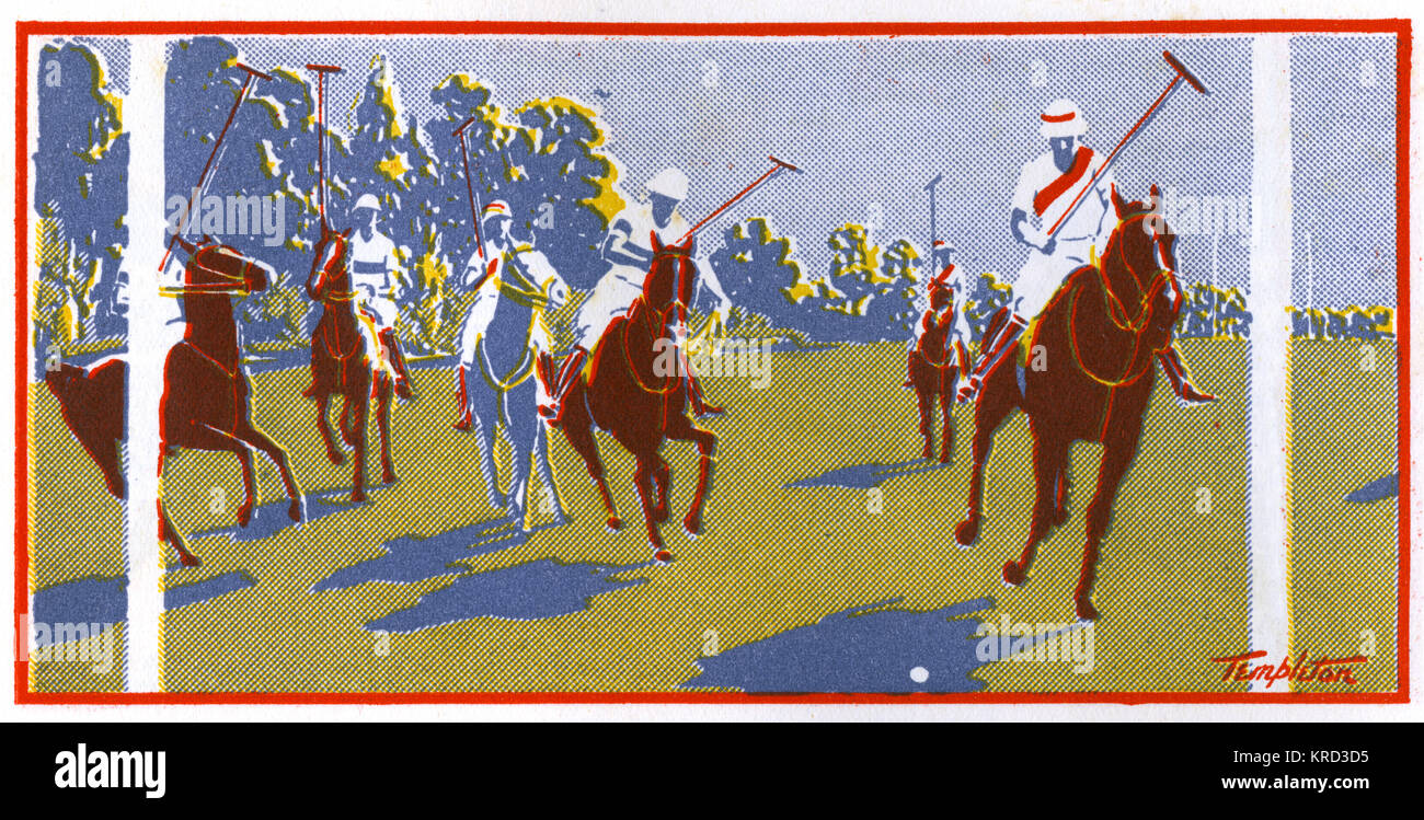 Stylised illustration showing a polo match in progress at the exclusive Hurlingham club at the height of the Season. - Stock Image