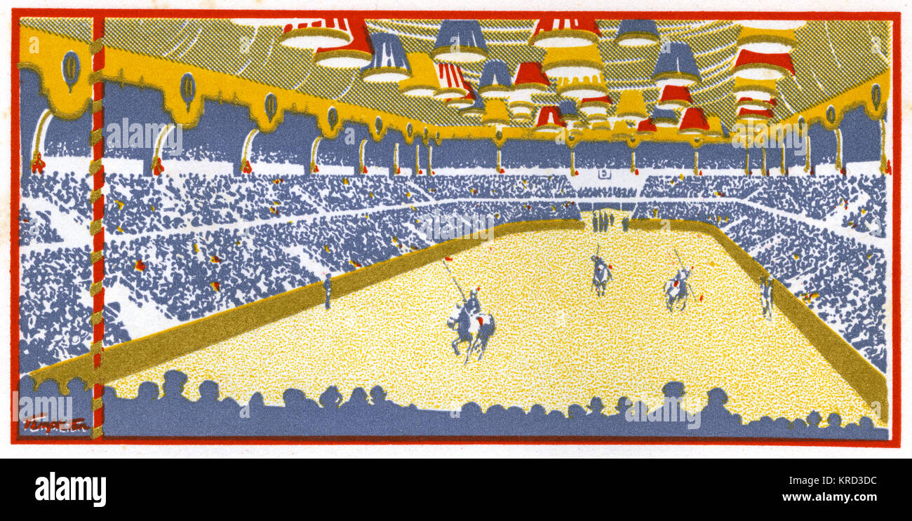 A stylised view of the Royal Tournament, the annual show of military skill usually held during the Season.  Previously - Stock Image