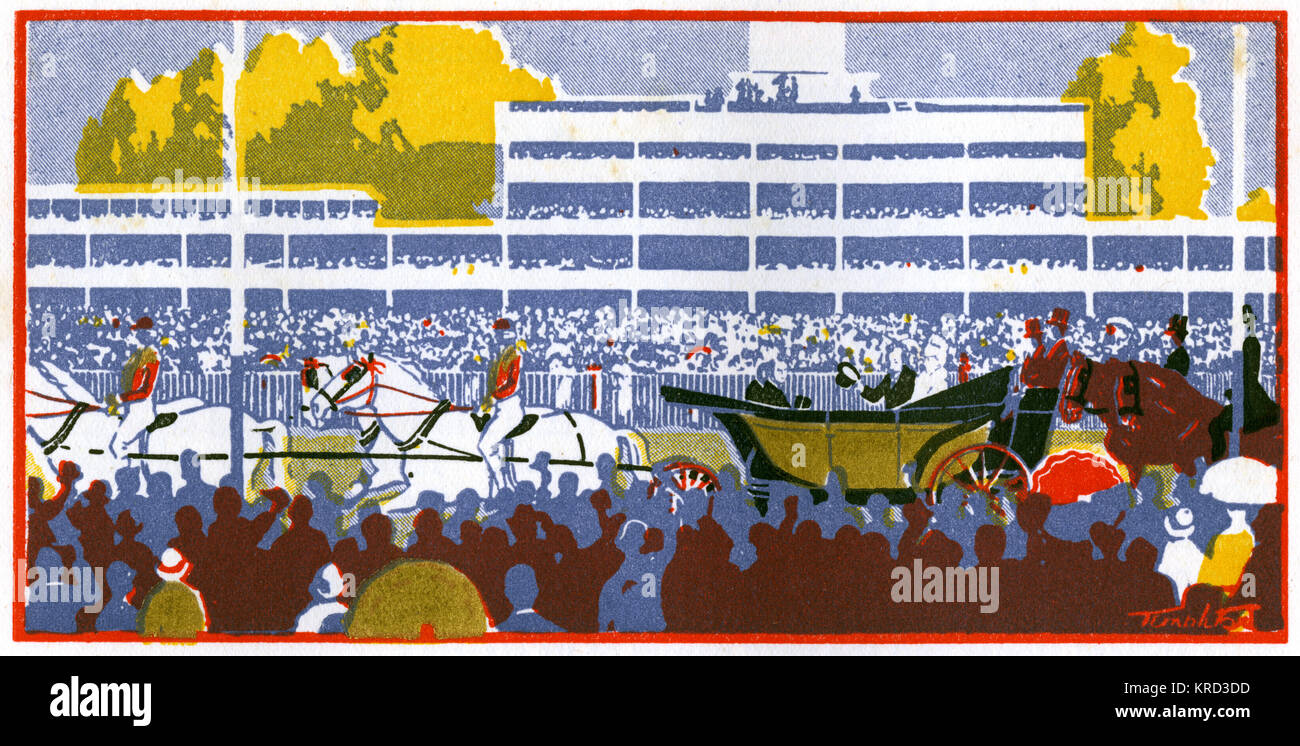 Stylised illustration showing the traditional carriage drive by the King and Queen down the course at Royal Ascot, - Stock Image