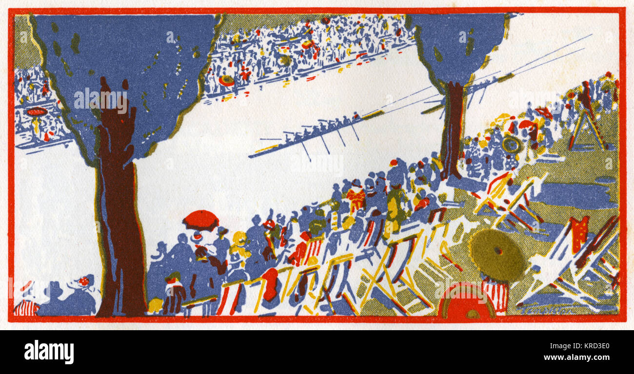 A stylised illustration of a view at Henley Regatta, started in 1839 by a local solicitor and one of the highlights - Stock Image