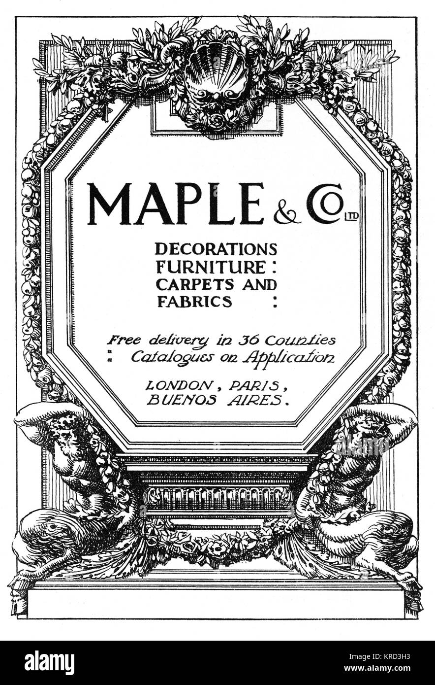 Advertisement for Maple's, London's best-known furniture store situated on Tottenham Court Road.     Date: - Stock Image