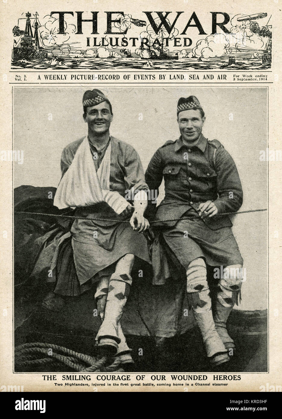 Two smiling Highlanders regIment injured in the the first great battle, on Folkstone  boat on hie way home.     Stock Photo