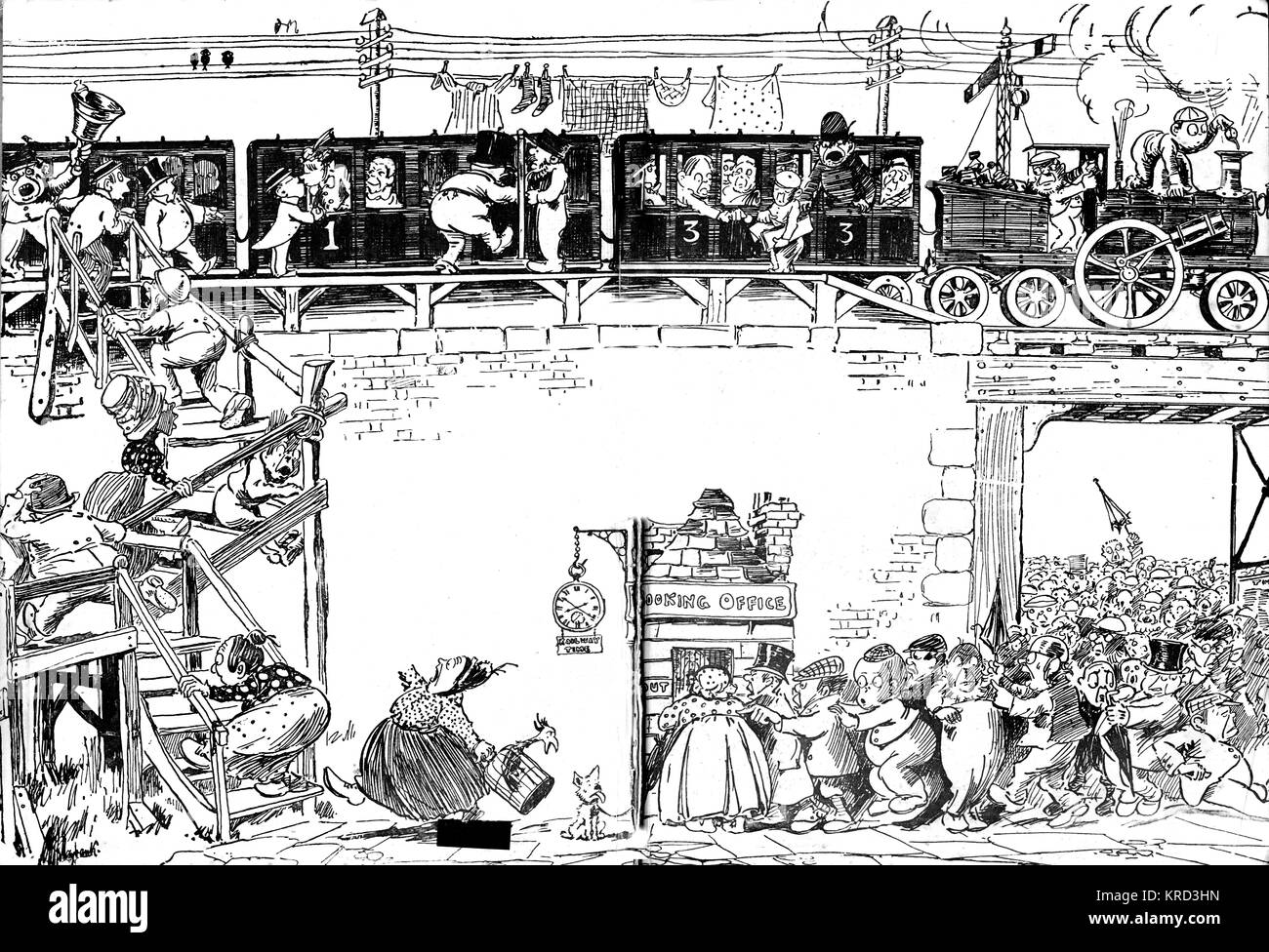 A comical cartoon showing elves, or possibly pixies, involved in a train crash. - Stock Image
