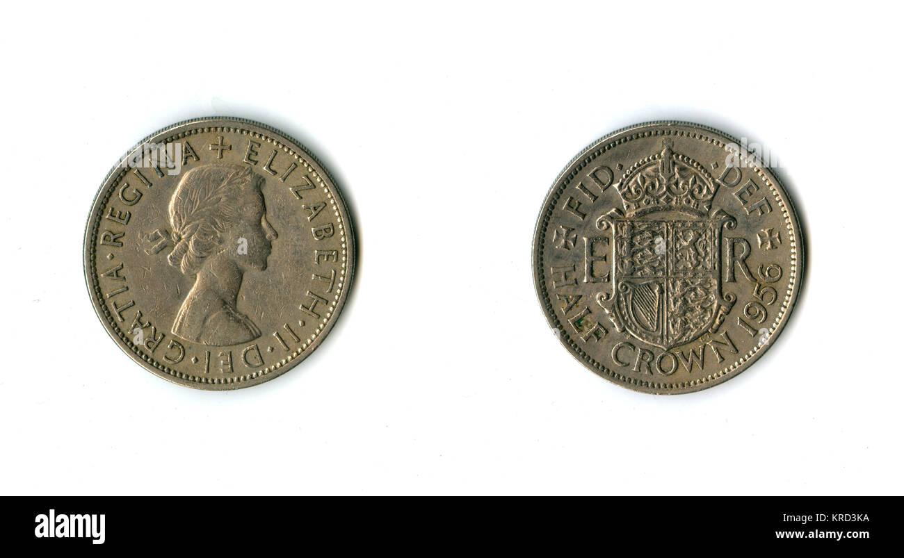 British coin, an Elizabeth II half crown (two shillings and sixpence, or 30 pennies).       Date: 1956 - Stock Image