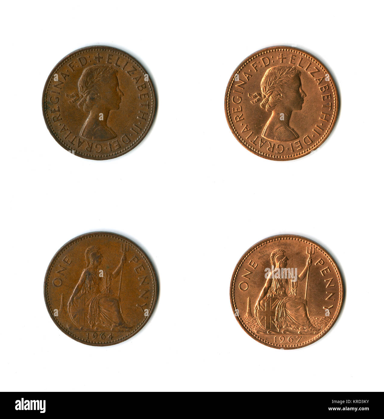 British coins, two Elizabeth II pennies for 1964 and 1967, with