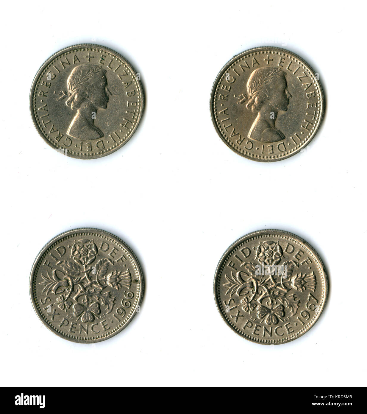 British coins, two Elizabeth II sixpences for 1966 and 1967, with a design on the reverse representing England (rose), - Stock Image
