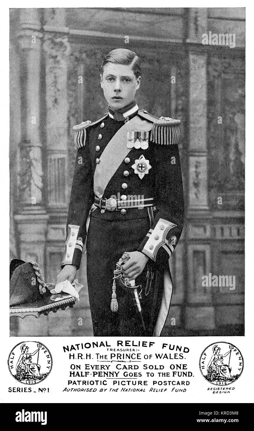 A postcard featuring a portrait of the Prince of Wales (the future King Edward VIII and later, Duke of Windsor), Stock Photo