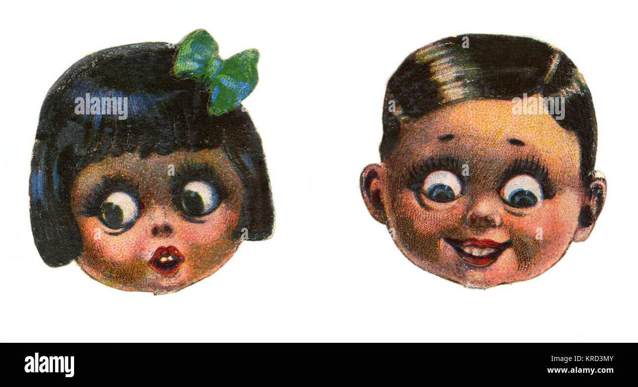 Two cute and cheeky cartoon children, one expressing surprise, the other mischievous delight.     Date: c.1930s - Stock Image
