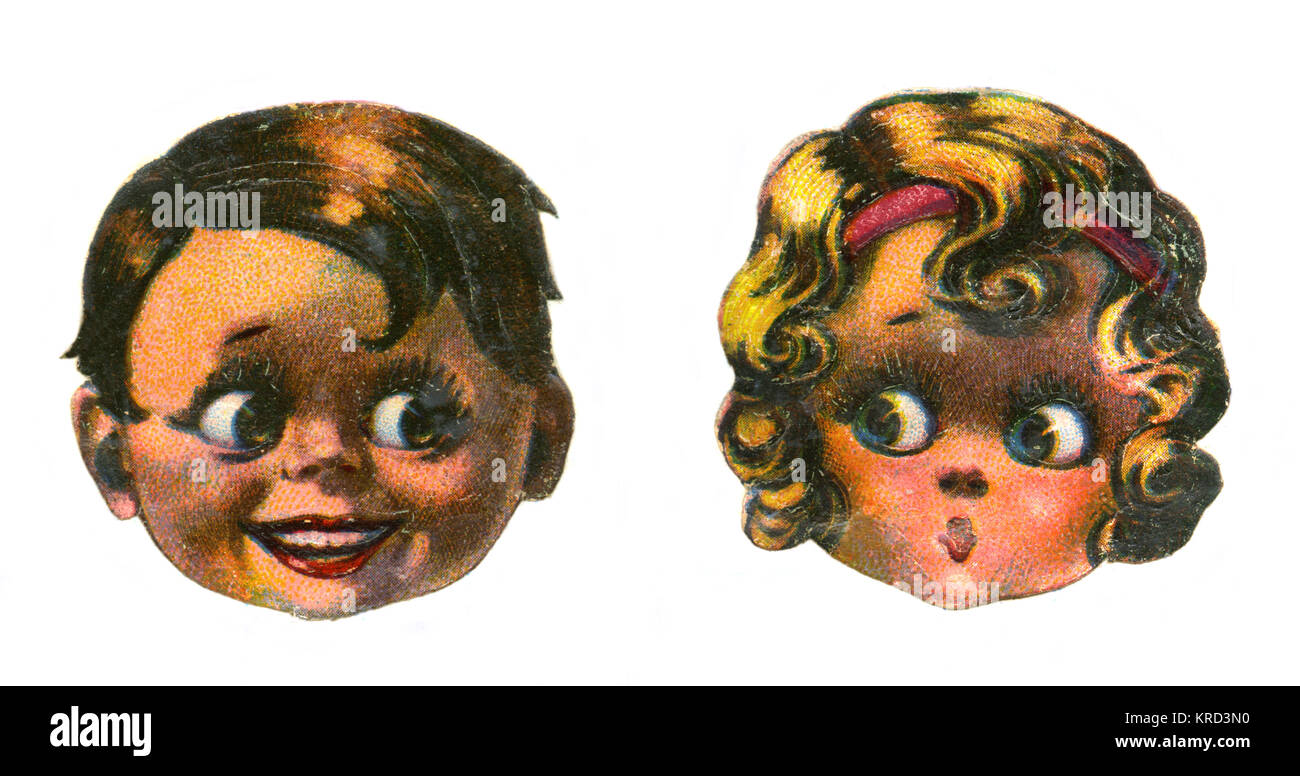 Two children's faces - one little blonde girl expresses surprise while a little brown haired boy grins sheepishly. - Stock Image