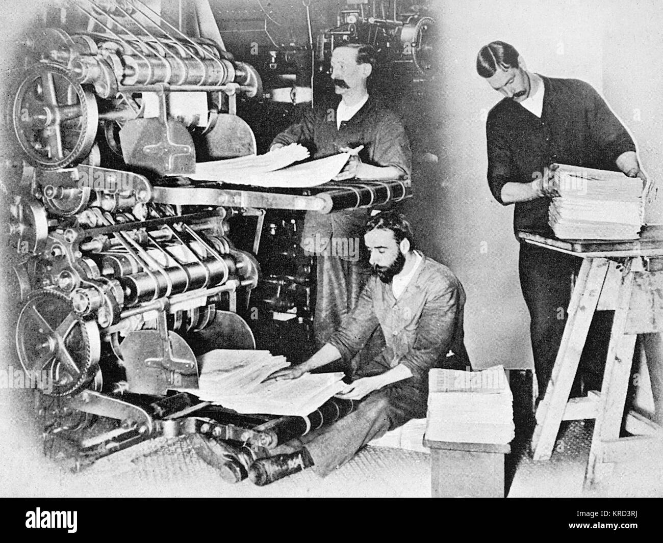 Newspapers coming off the printing press and gathered and counted by two men while the man on the right removes - Stock Image