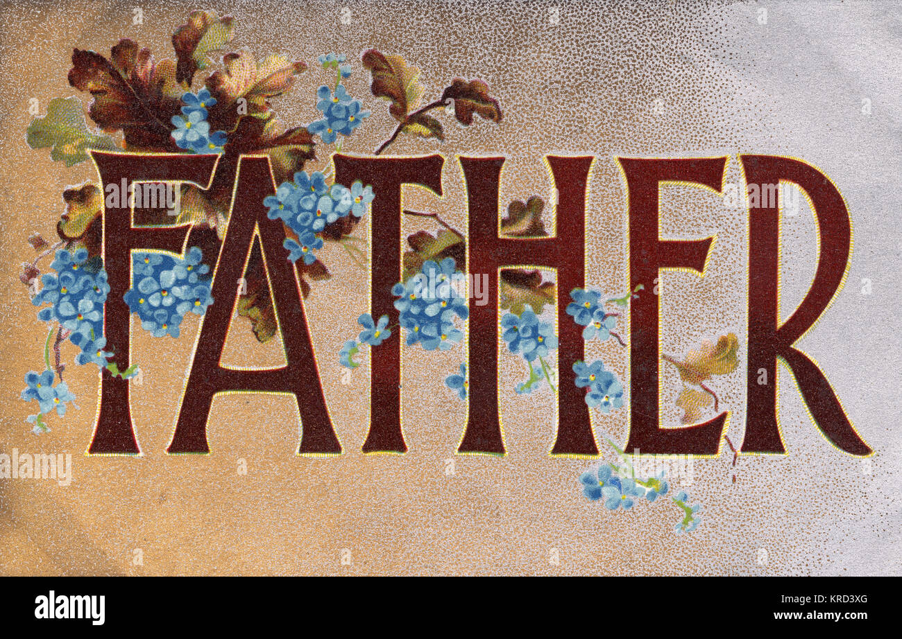 A postcard bearing the single word of 'Father' adorned with autumn leaves and forget-me-not flowers.  See - Stock Image