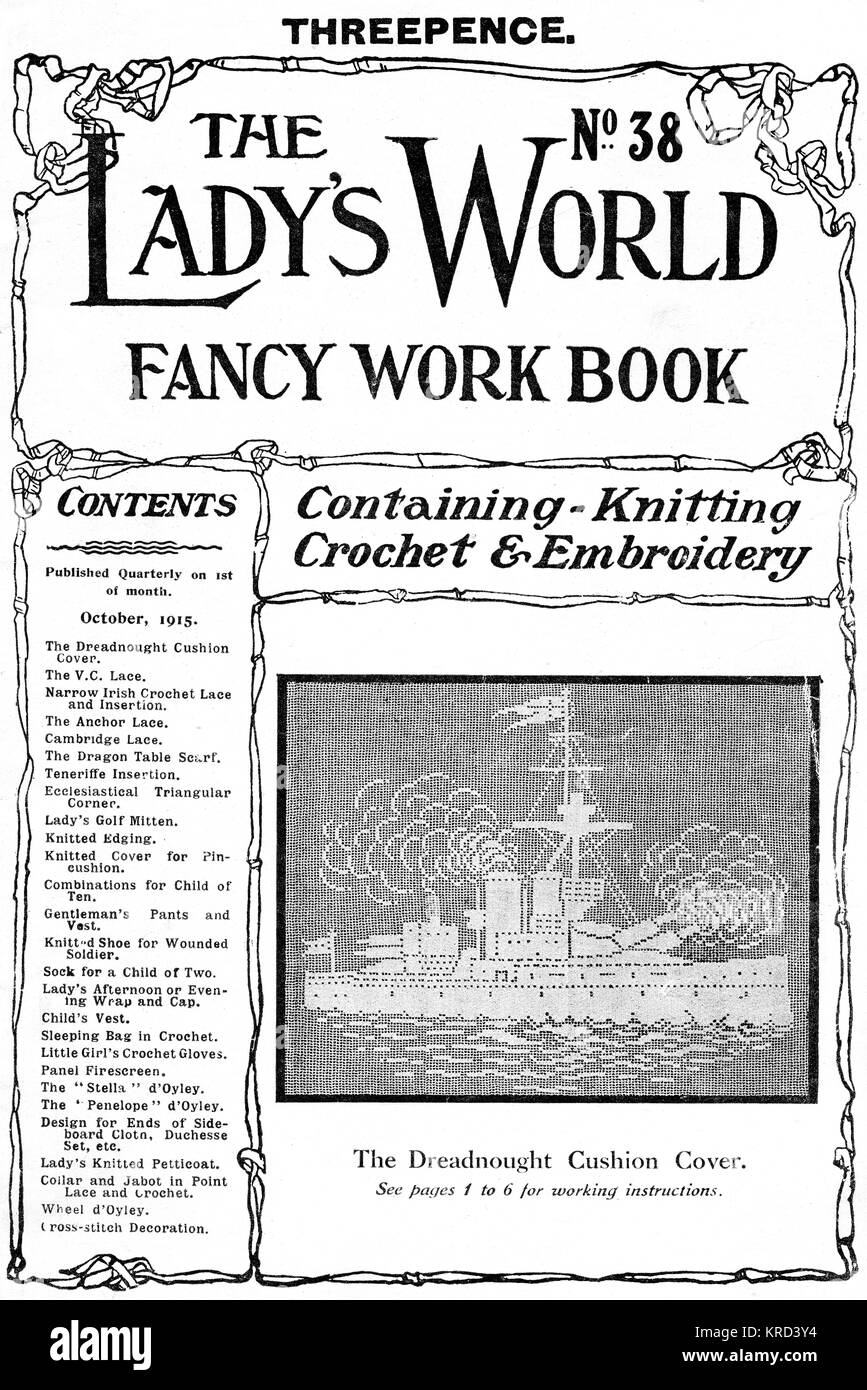 Front cover of a First World War period The Lady's World Fancy Work Book featuring a topical design for a dreadnought - Stock Image