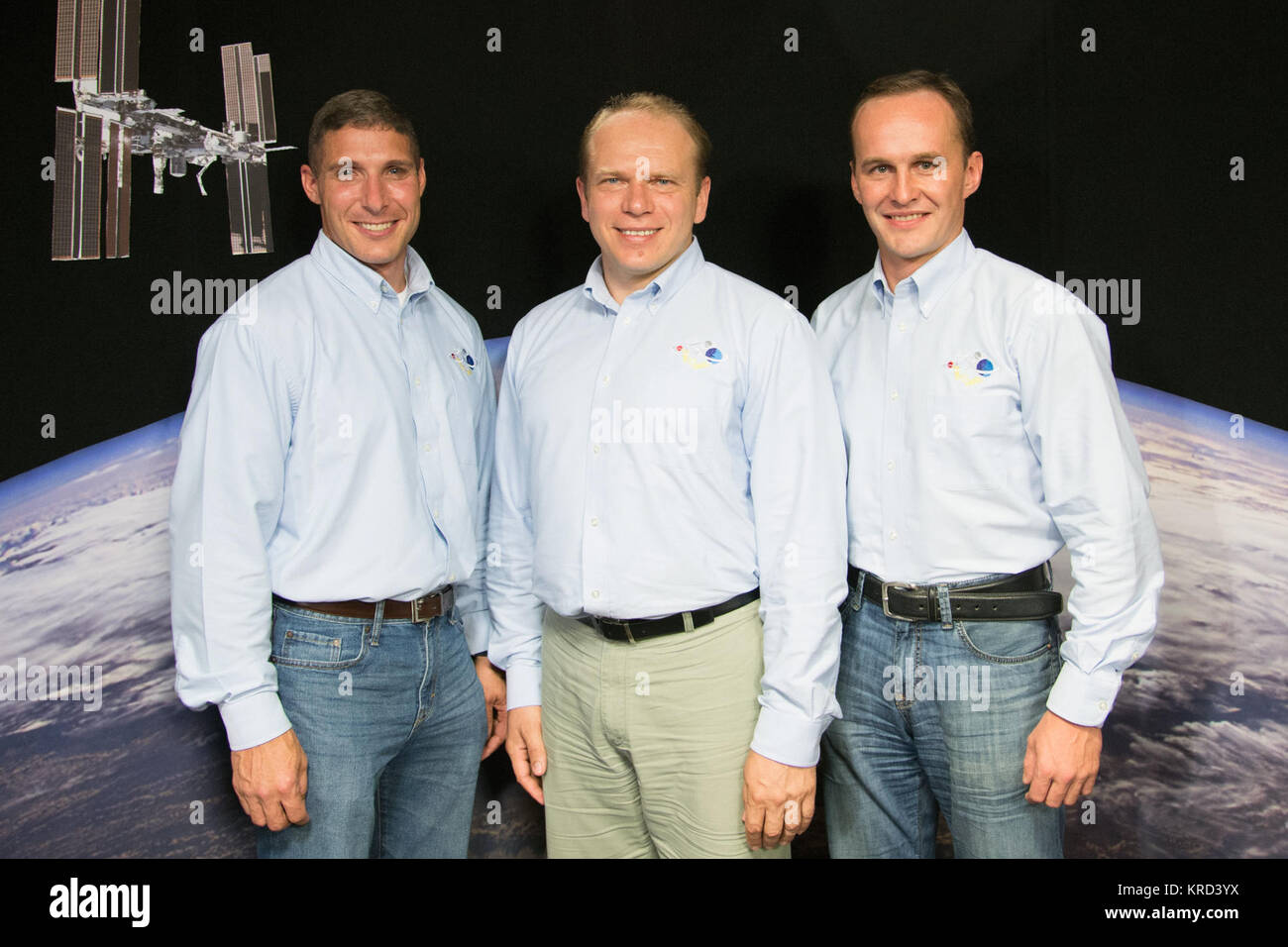 Expedition 37 Crew News Conference (Oleg Kotov, Sergey Ryazansky, Michael Hopkins).  Photo Date: July 17, 2013. - Stock Image