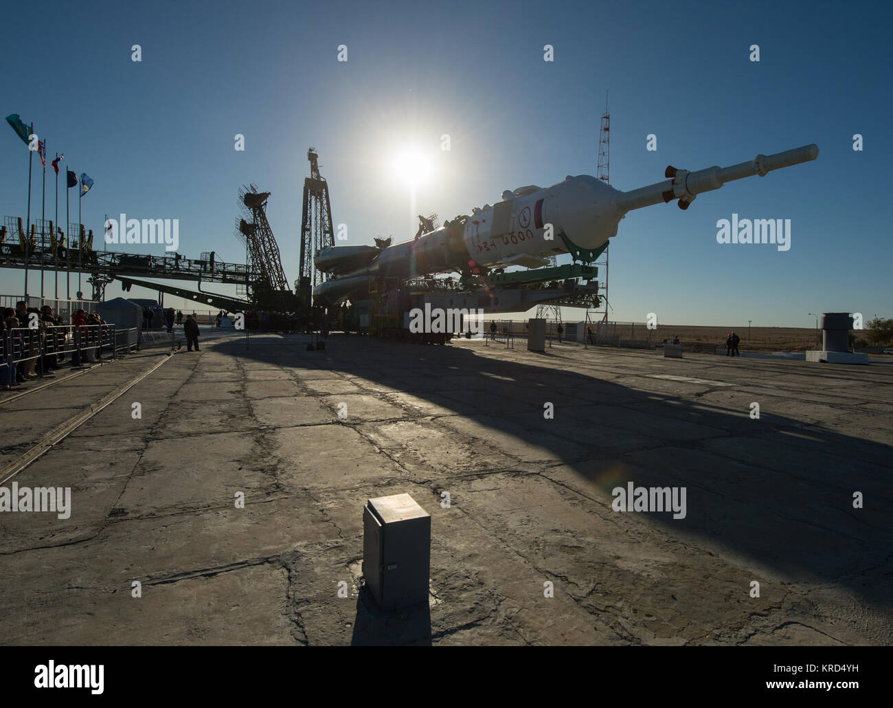 The Soyuz rocket is seen on its launch pad shortly before being lifted into its upright position on Monday, Sept. - Stock Image