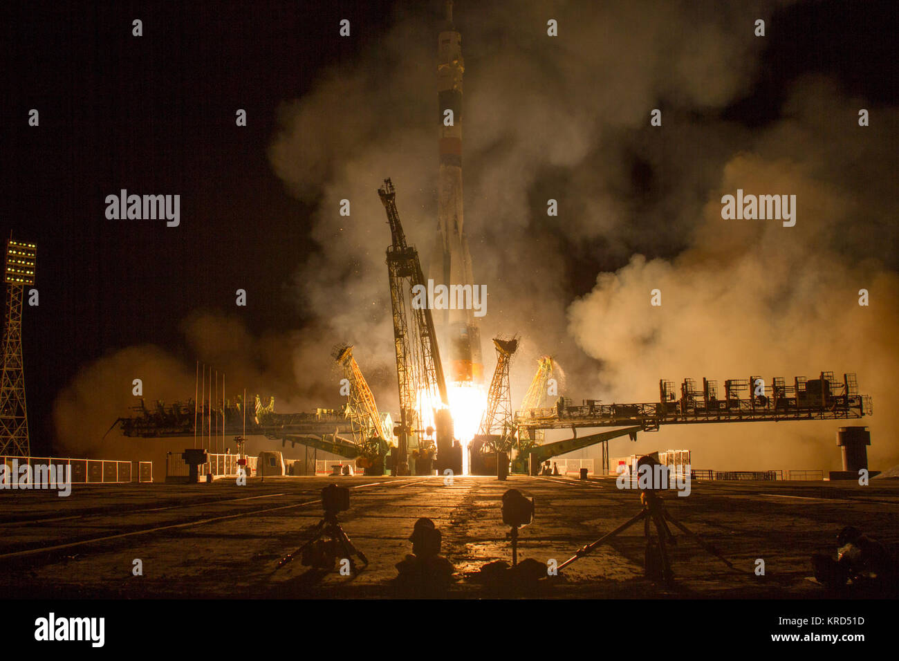 The Soyuz TMA-10M rocket launches from the Baikonur Cosmodrome in Kazakhstan on Thursday, Sept. 26, 2013 carrying - Stock Image