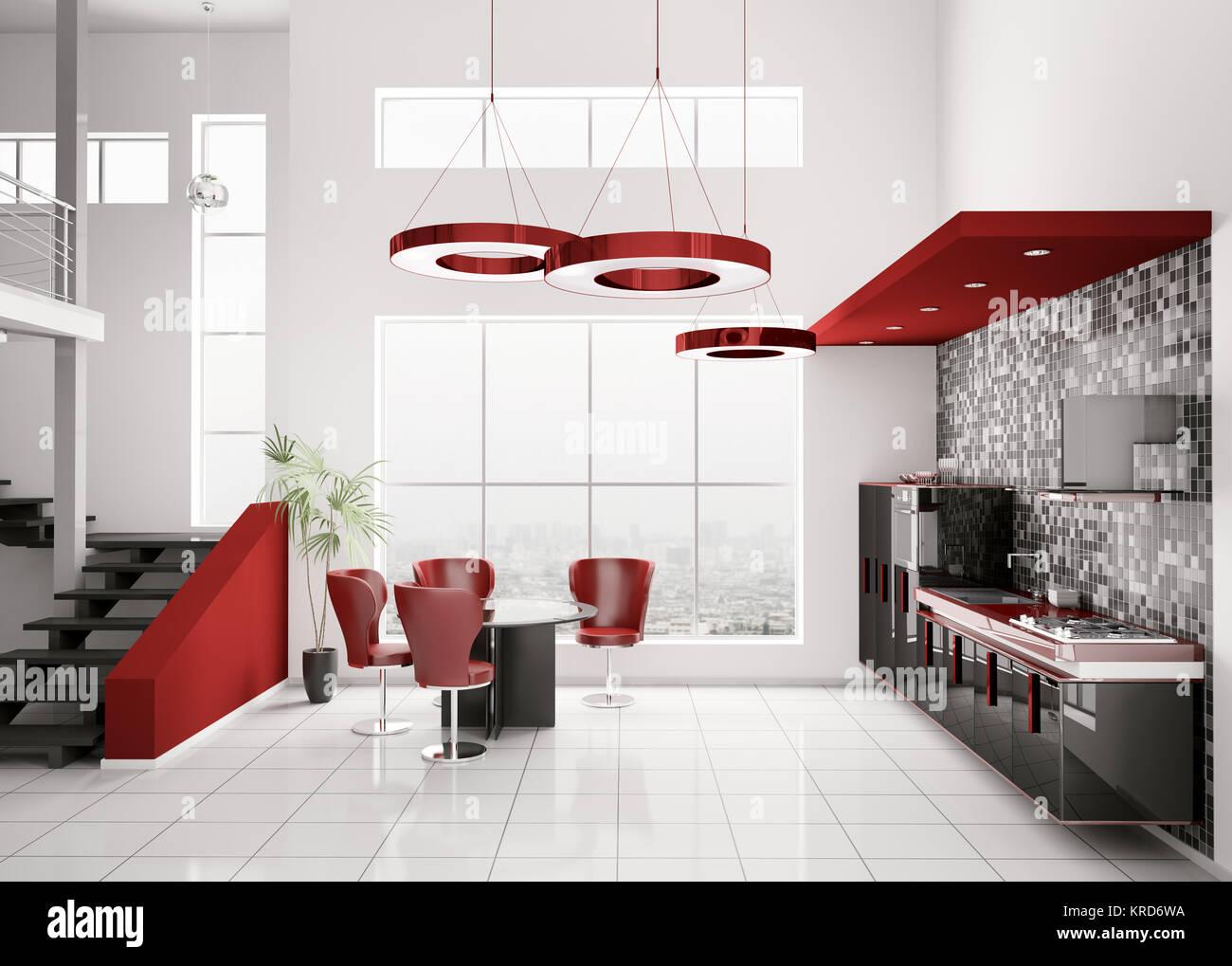 Interior Of Modern Black White Red Kitchen 3d Render Stock Photo Alamy