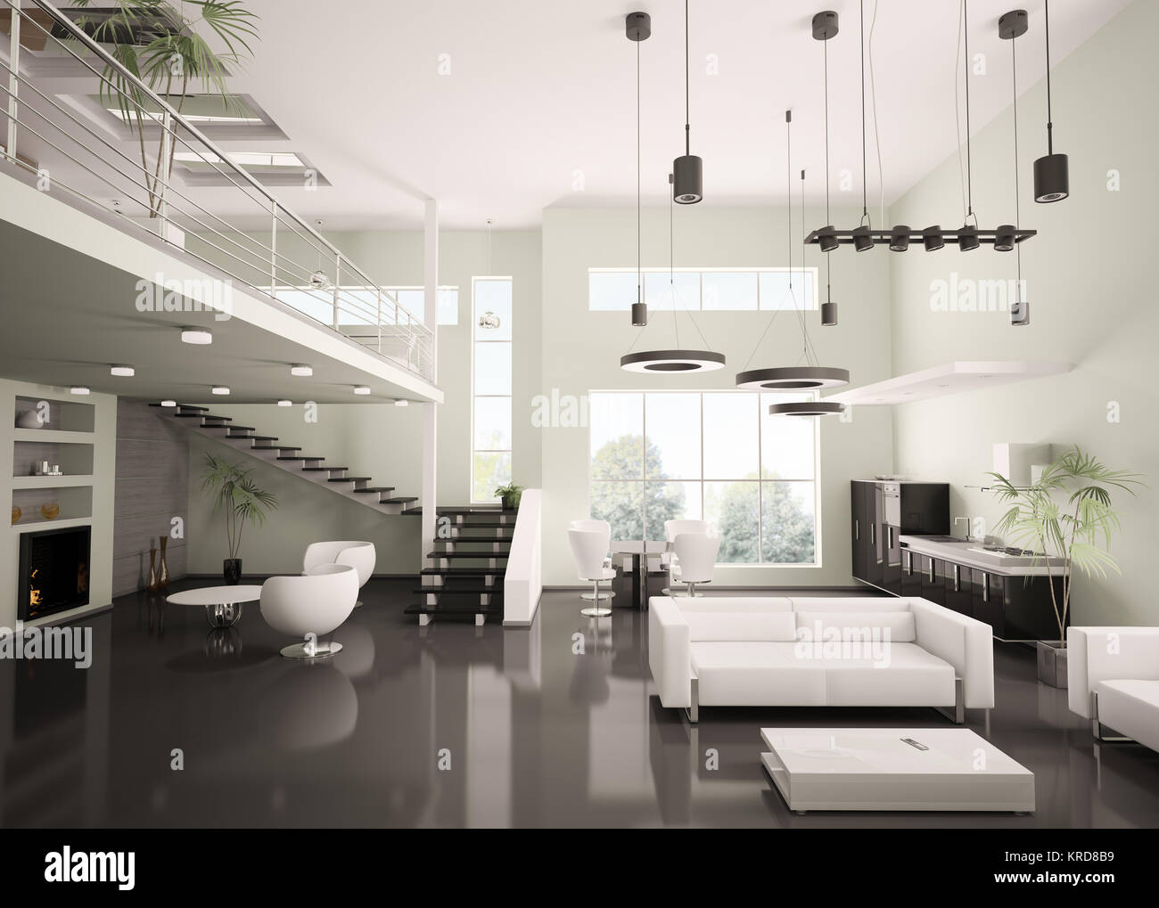 Interior of modern apartment living room kitchen 3d render Stock ...