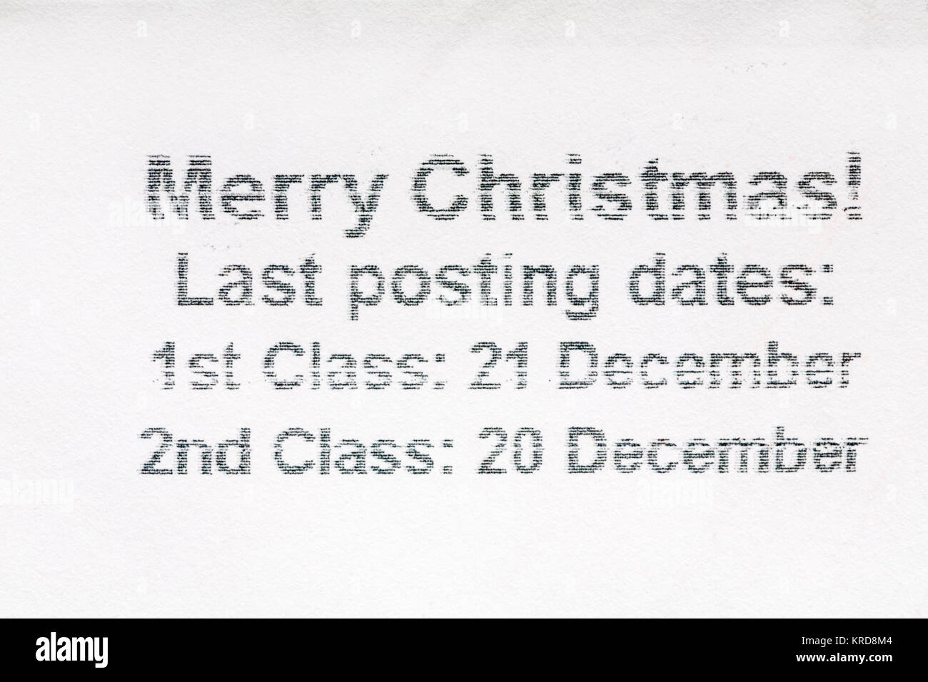 Last posting dates for Christmas information on envelope - Stock Image