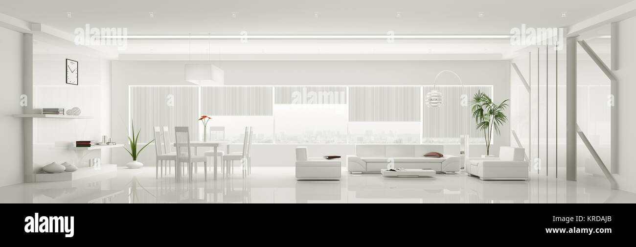 Modern Home Interior Of White Apartment Panorama 3d Render Stock