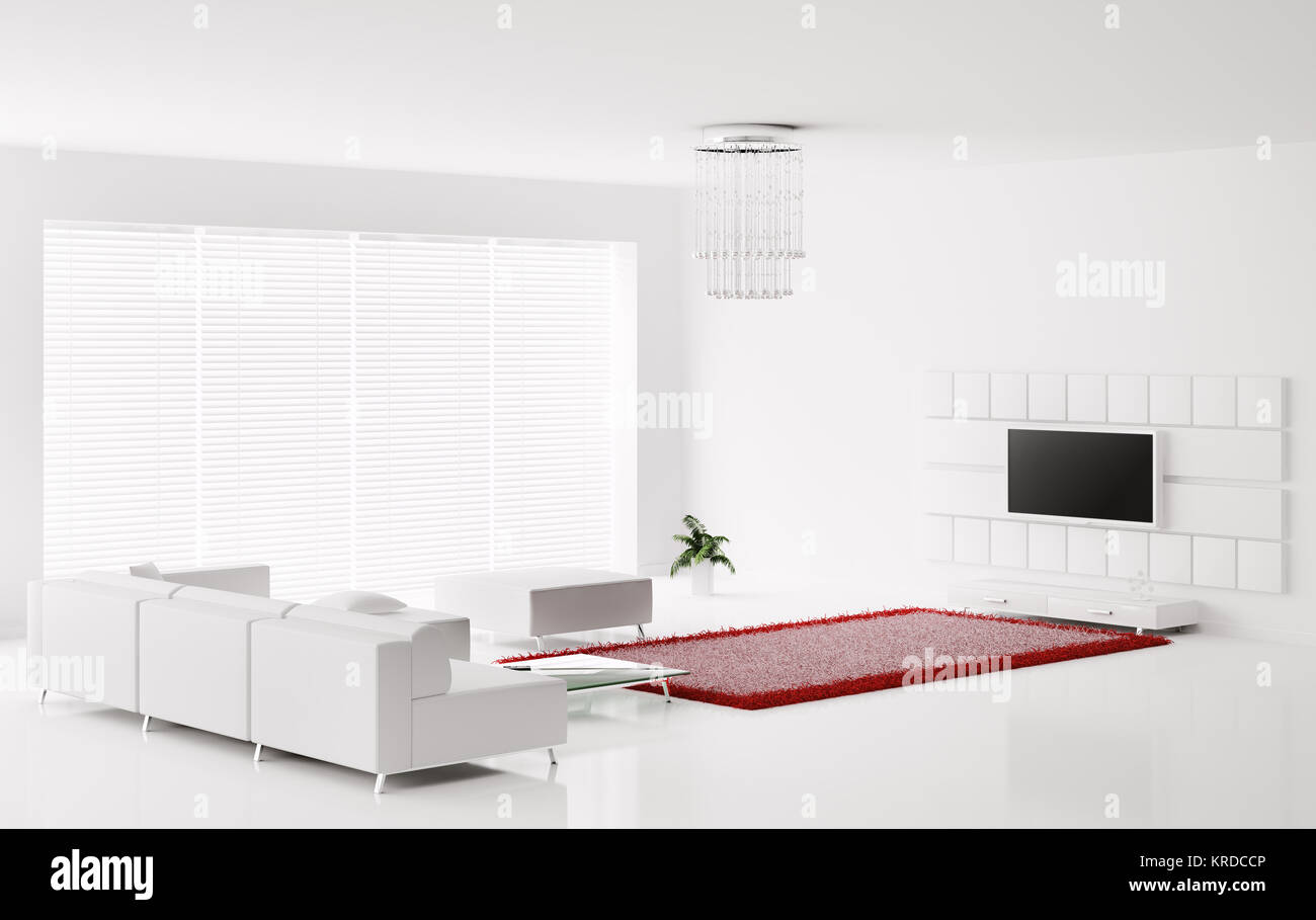 Interior of white living room with red white carpet 3d render Stock ...