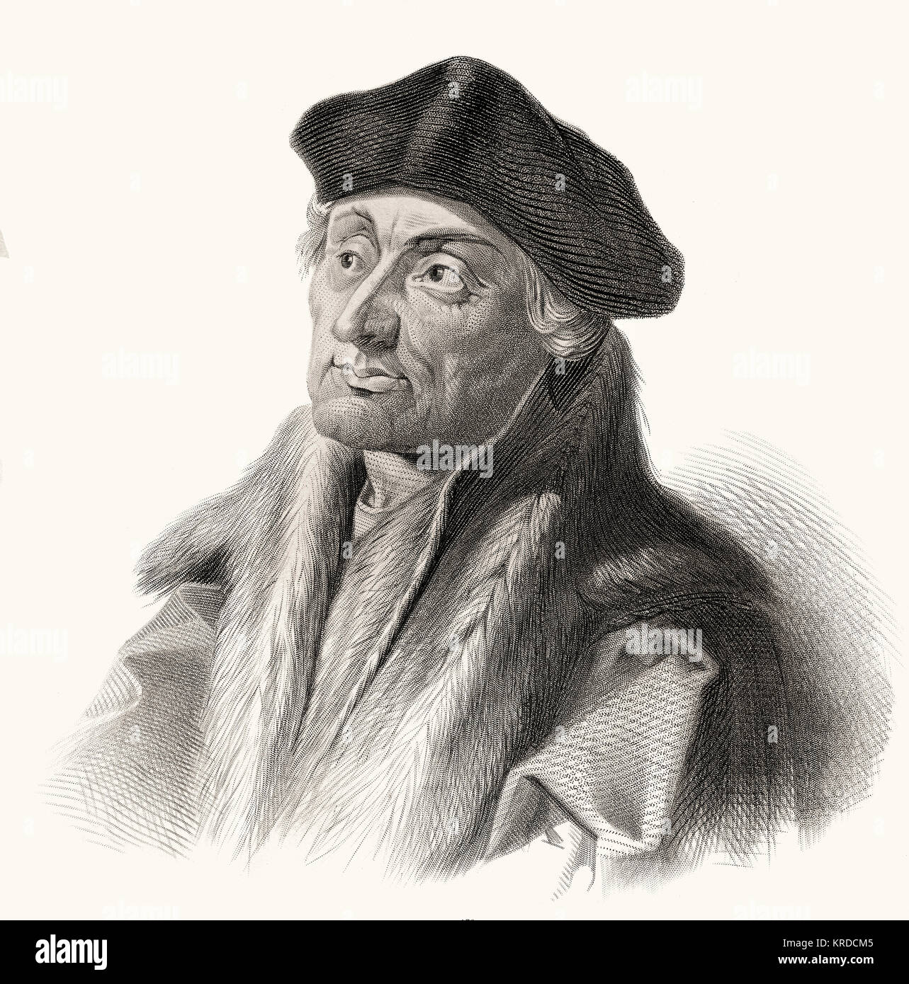 Erasmus Desiderius von Rotterdam, 1465 - 1536, a Dutch humanist, theologian, philosopher, scholar and author, - Stock Image