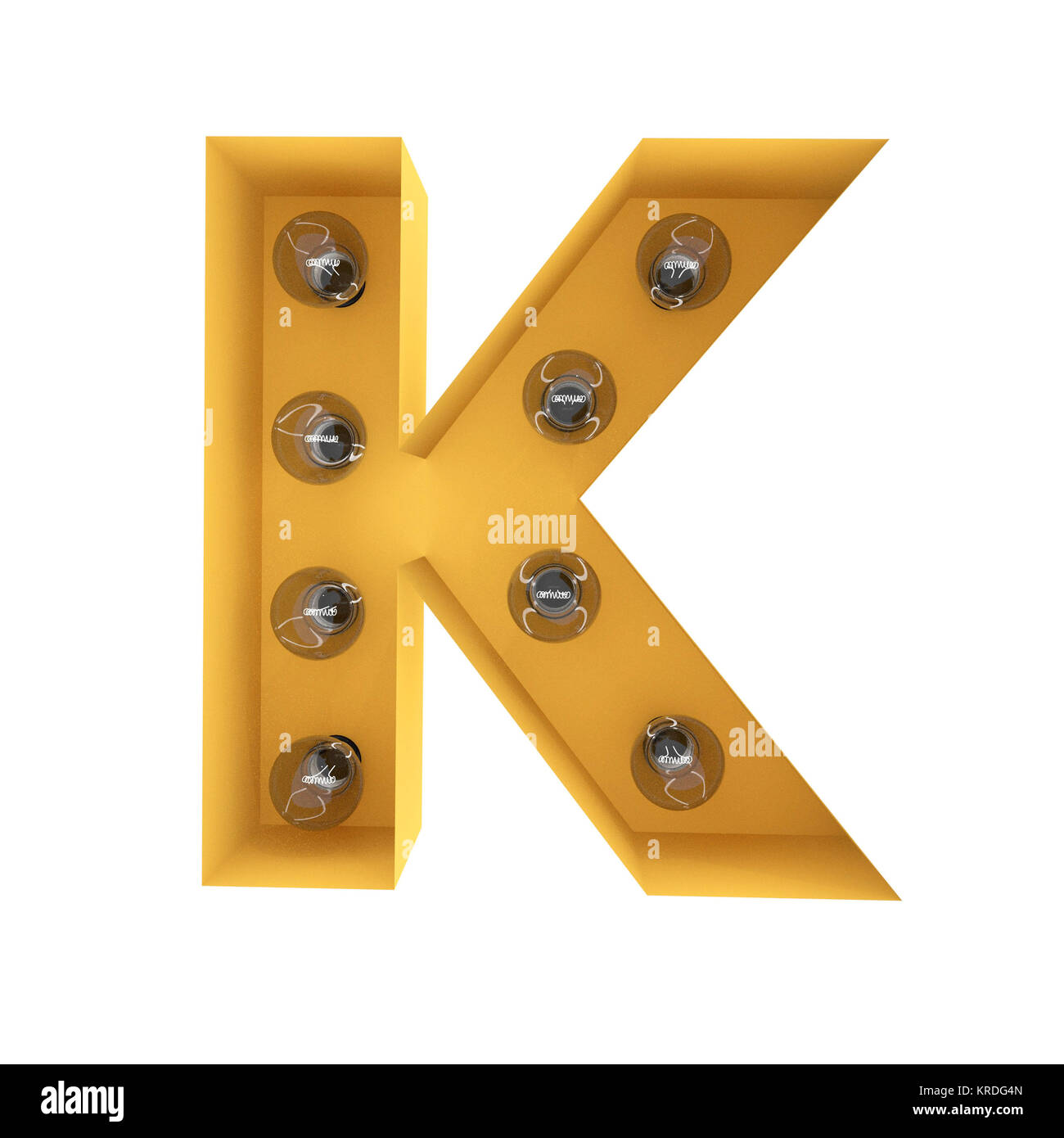 Letter K light sign yellow vintage. 3D rendering - Stock Image
