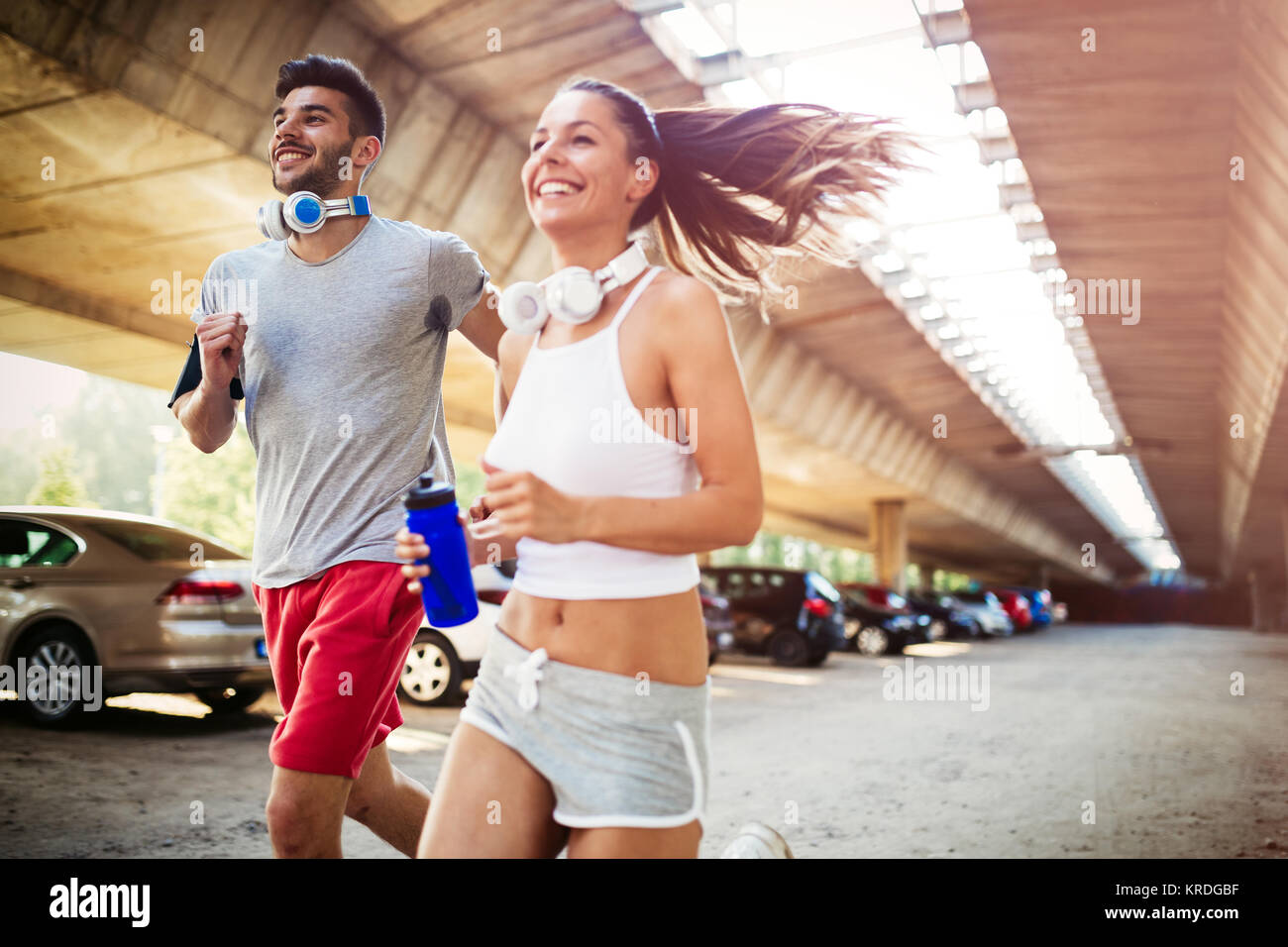 Friends fitness training together outdoors living active healthy - Stock Image