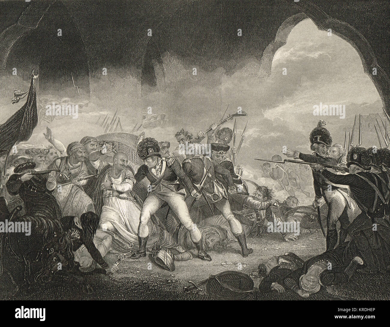 Fall of Tipu Sultan, last stand, Death of the Tiger of Mysore, Srirangapatna, 1799 - Stock Image