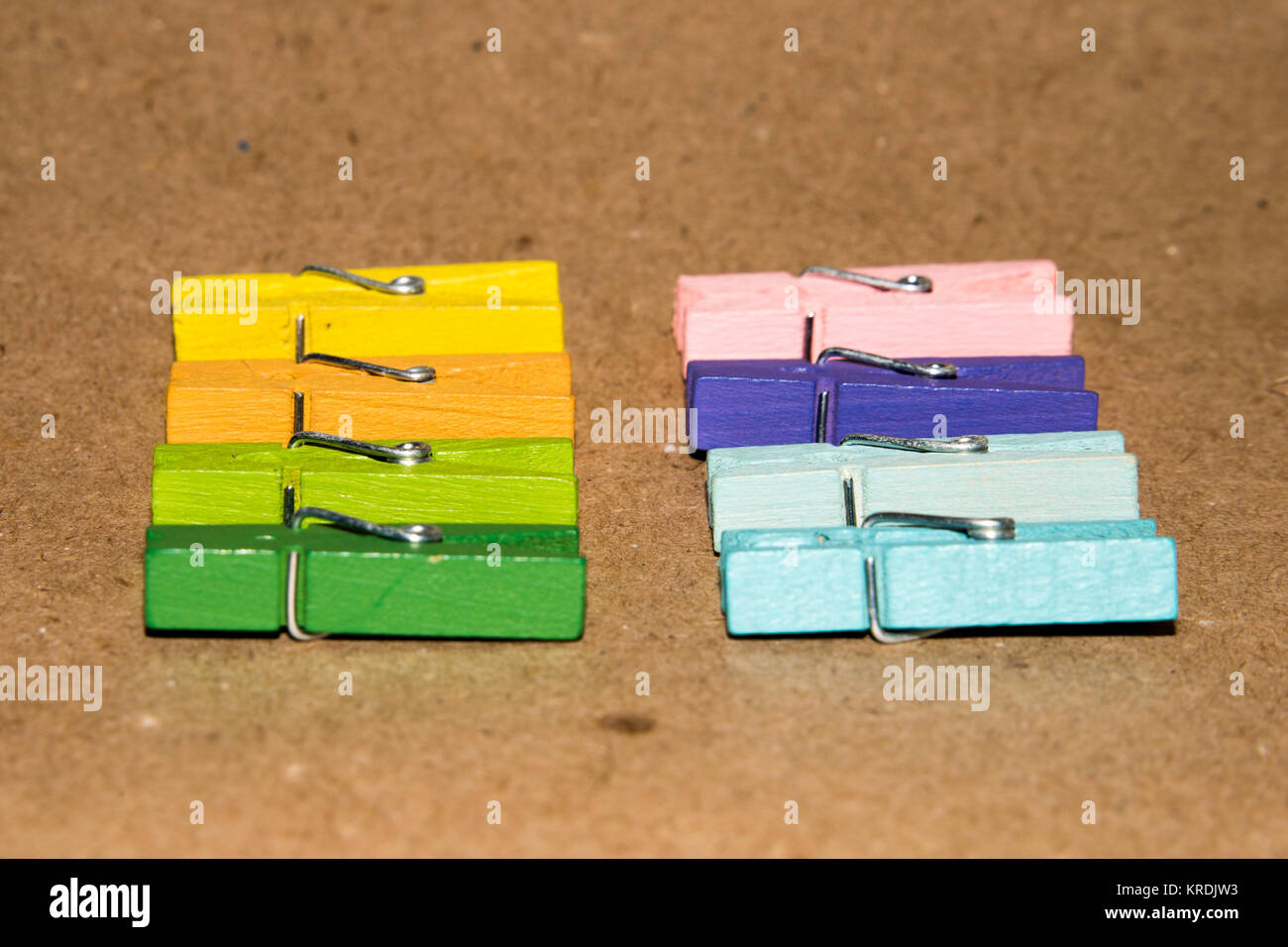 Set of colour clothespins. Stock Photo