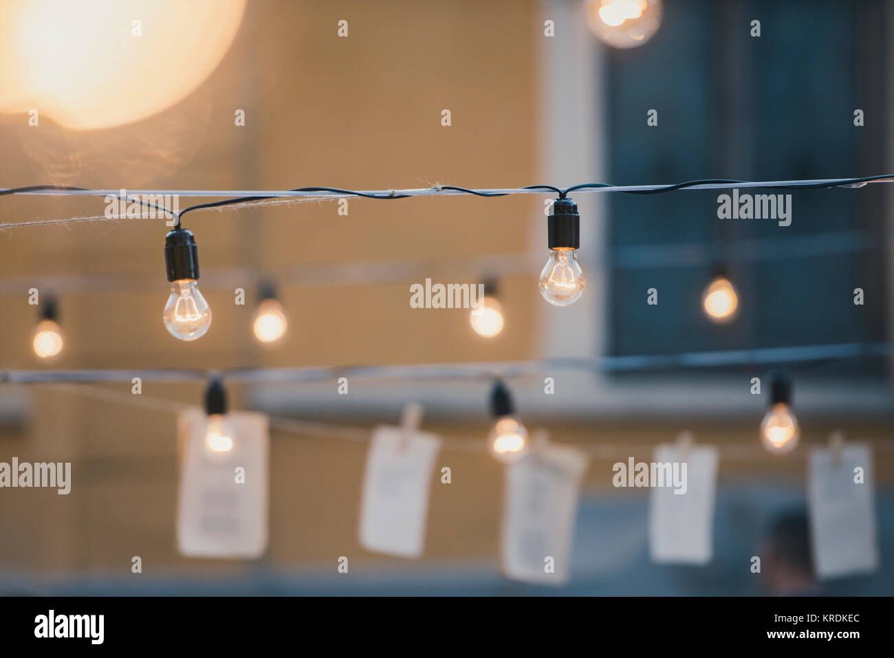 Light bulbs in a garden - summer party and culture concept Stock Photo